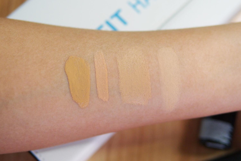 From left: Maybelline Fit Me Liquid Foundation, Concealer, Foundation Stick, Pressed Powder