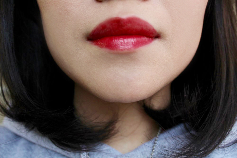 Canmake Lip Tint Jam in Cherry Jam - Freshly applied