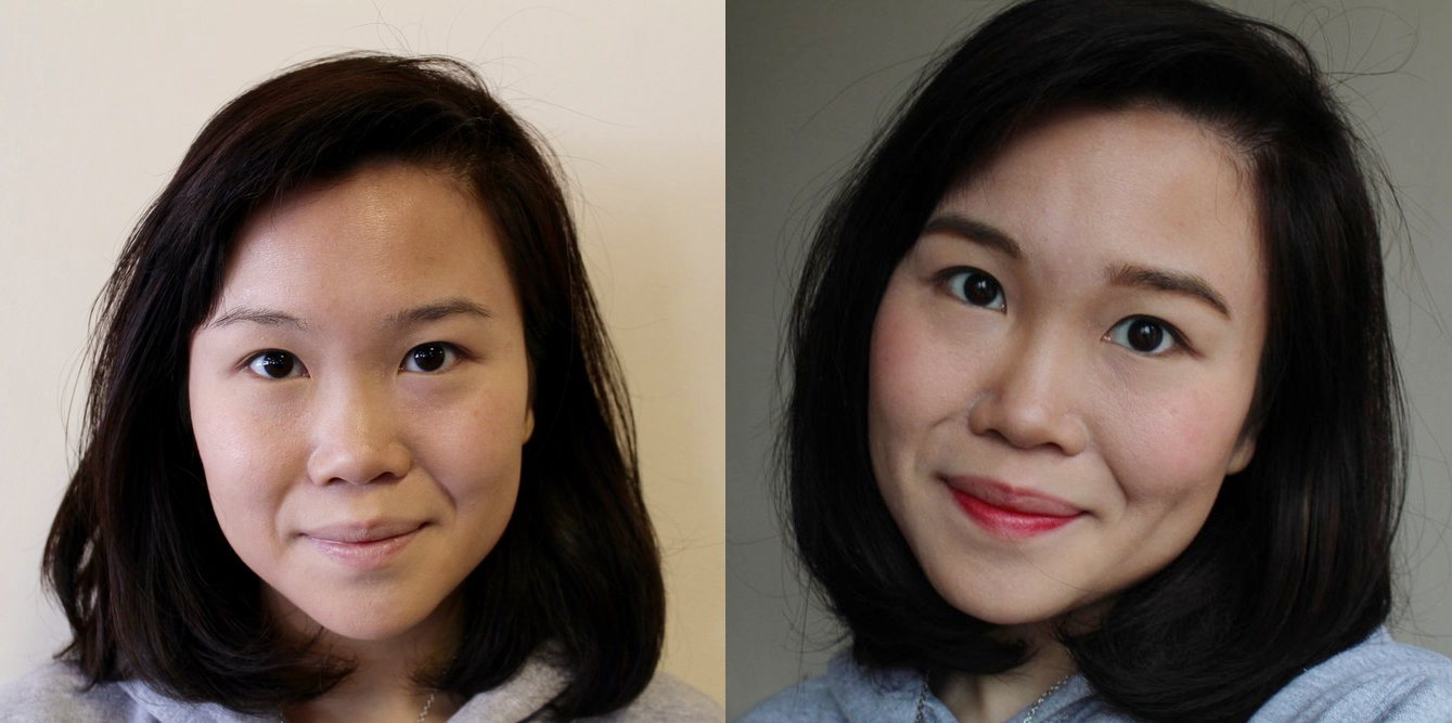 Left: Wearing only sunscreen + BB cream as a base / Right: After applying the Canmake products