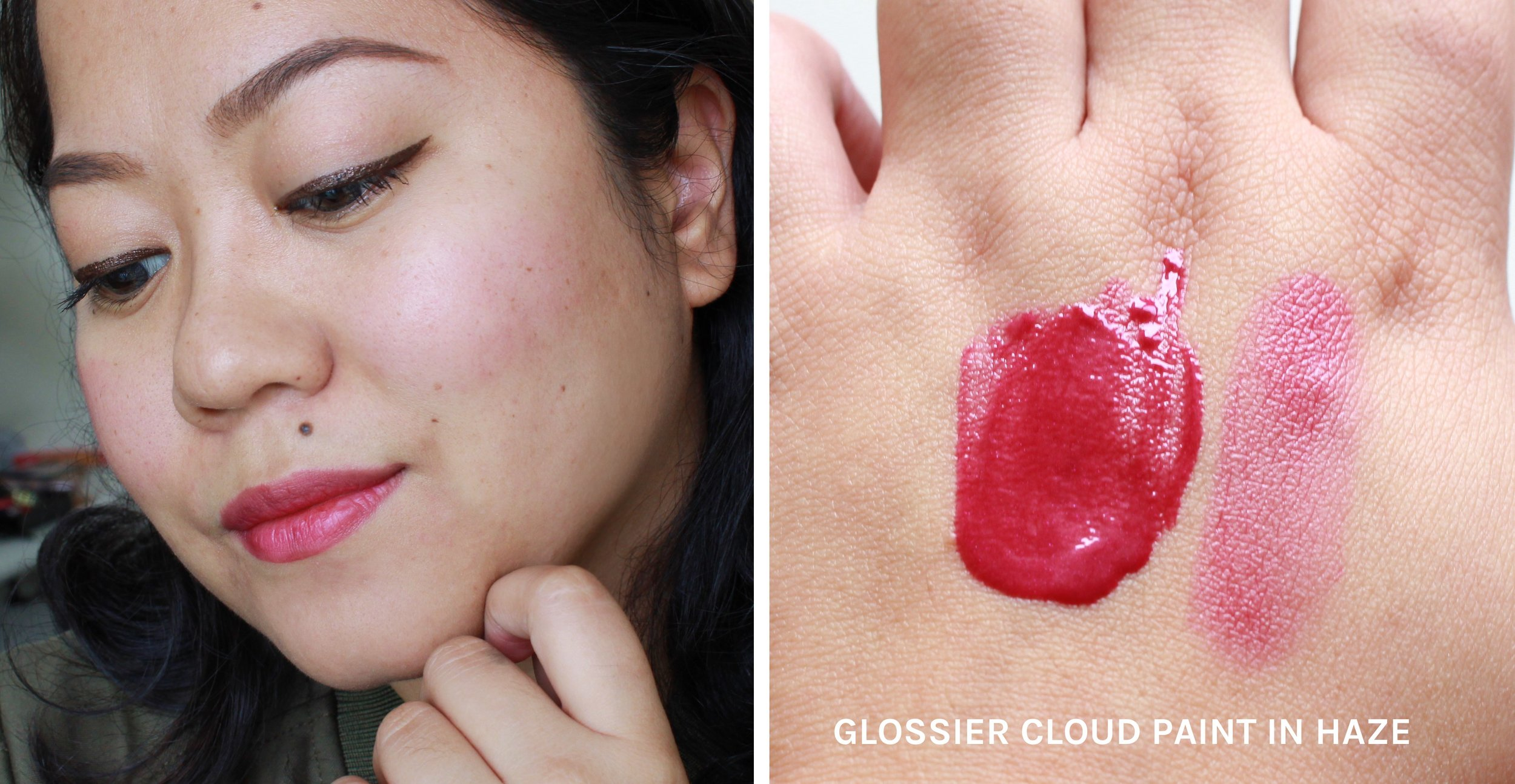 The Glossier Cloud Paint in Haze on bare skin. Haze is a juicy berry red shade.