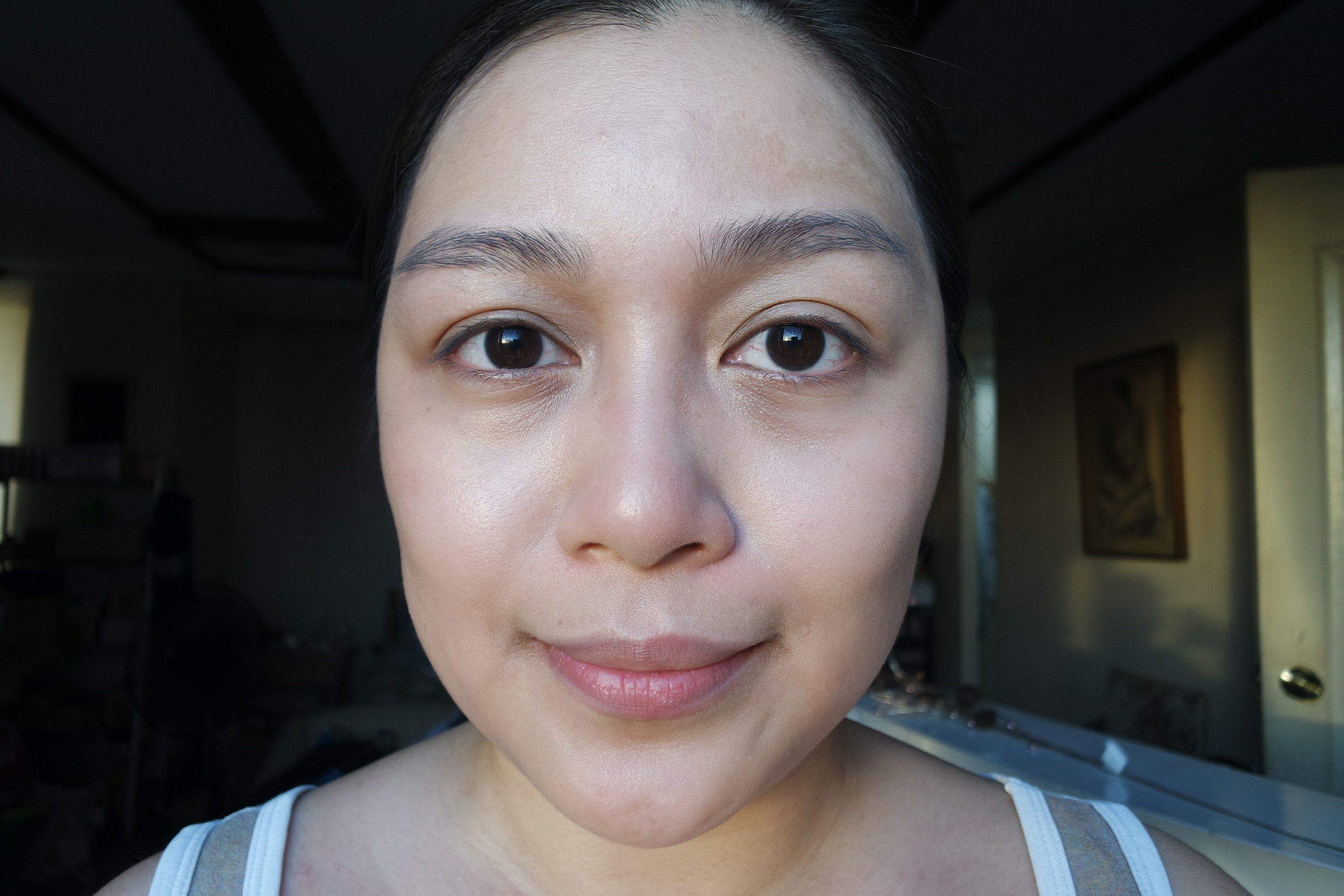 Left: foundation only, right:foundation mixed with finishing cream
