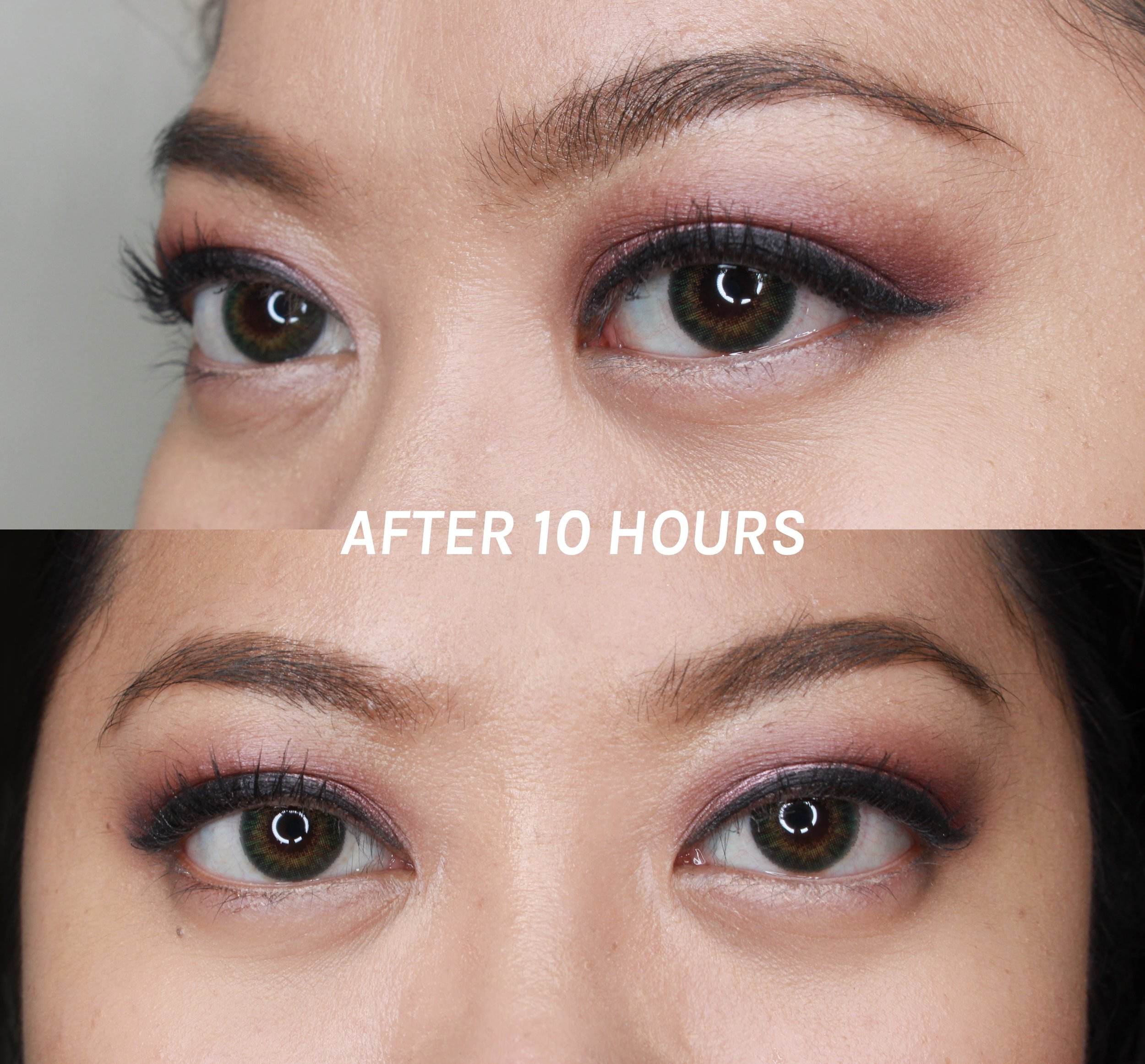Both photos show what the eyeliner looks like after ten hours