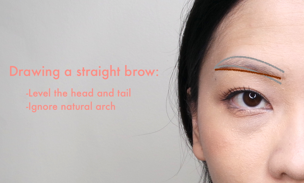 The gray line represents my actual brow shape. The brown line represents my initial guide line.