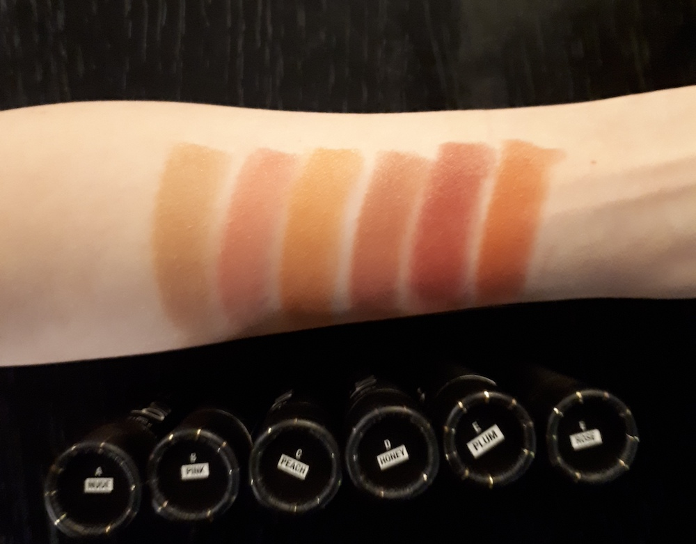 Swatches, from left: swatched: Artemis Nude, Venus Pink, Aurora Peach, Inanna Honey, Cleo Plum, Freya Rose