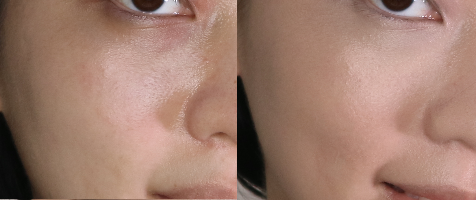 Before and after using the primers and foundation