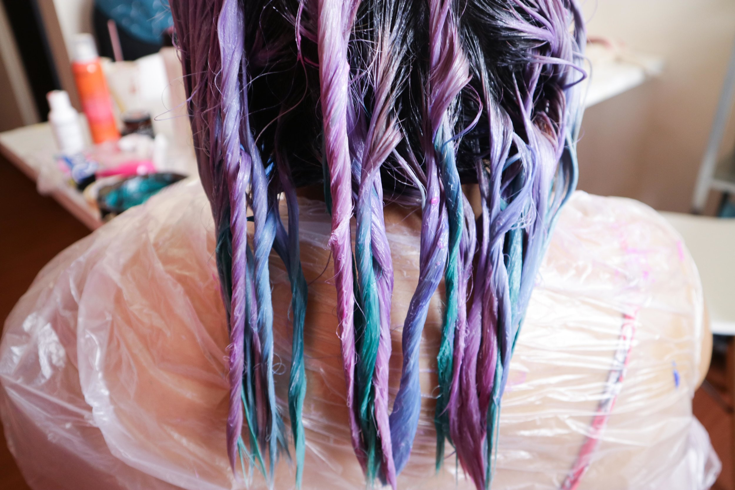 We twisted the strands to keep the strands separate and the dyes from mixing with each other.