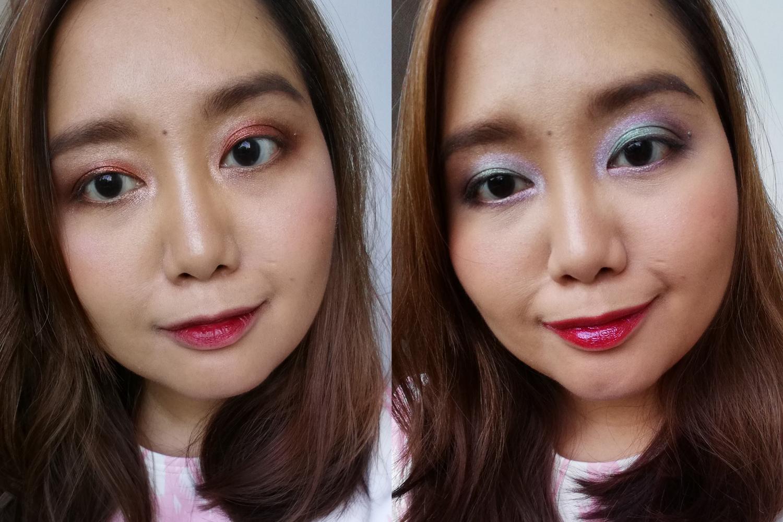 Left: Calypso Eyeshadow Palette, Vermillion Lip & Cheek Tint, Bronzer and Highlight Palette  Right: Luna Eyeshadow Palette, Vermillion Lip & Cheek Tint on the Cheeks, Bronzer and Highlight Palette