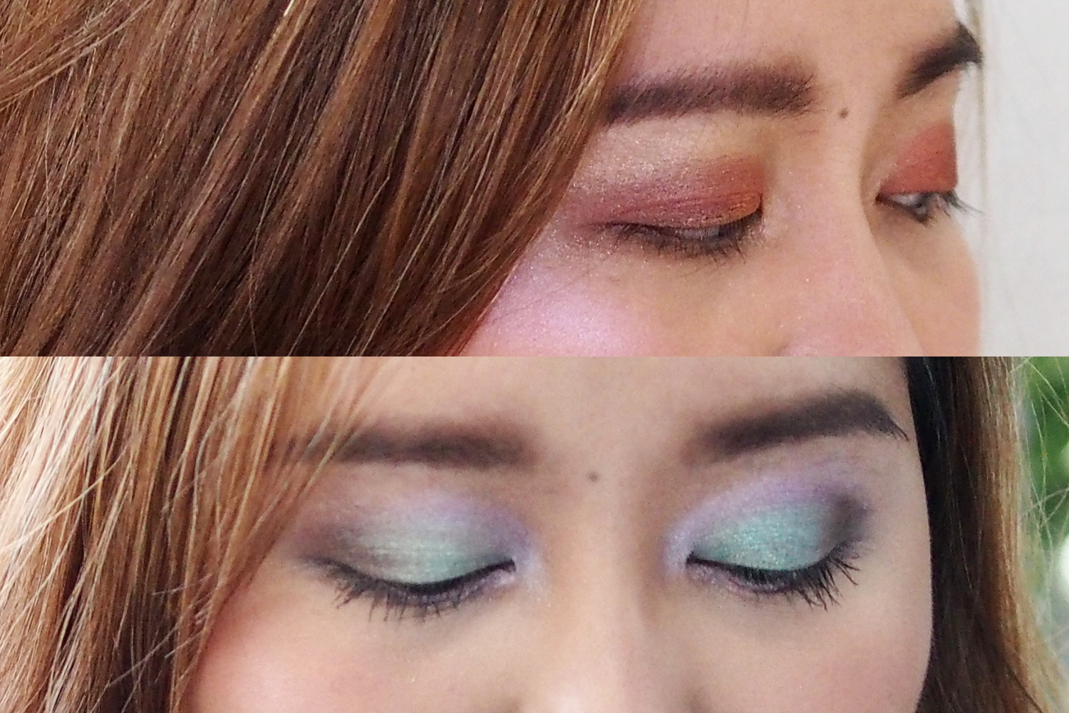 Top: Calypso Eyeshadow Palette with the Pink Highlighter from the Bronzer and Highlight Palette (photo taken in Indoor lighting)  Bottom: Luna Eyeshadow Palette with Vermillion Lip & Cheek Tint (photo taken Outdoors)