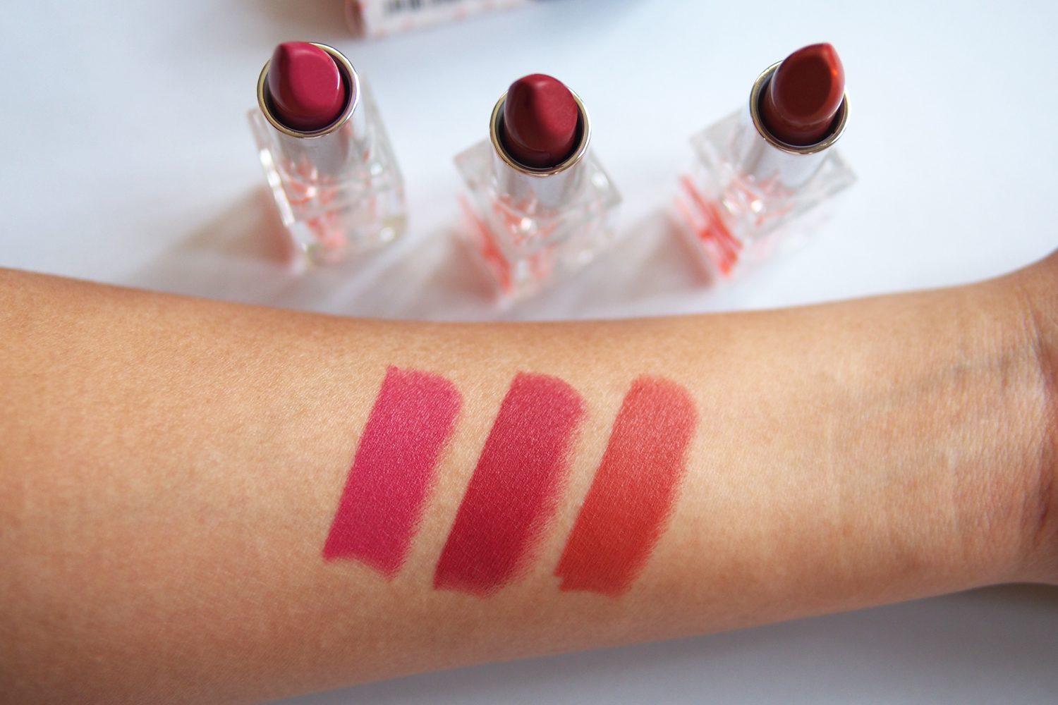 Swatches, from left: All-Day Intense Matte Lipsticks in  Beautiful ,  Honey  and  My Love