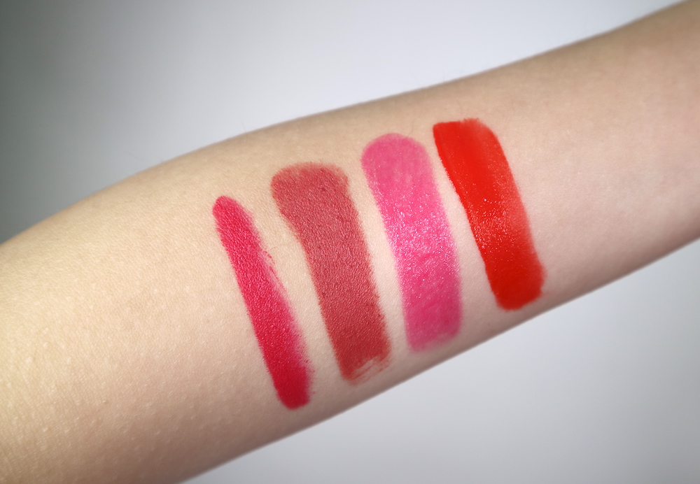 Swatches, from left: Lipdraw Velvet Crayon in  PK02 Pink Bell,  Lipdraw Matte Blast Stick in  MPK03 Rosy Marsala,  Lipdraw Melting Serum Stick in  SPK01 Pink Falling,  and Liplike Lip Slip in  CR01 Scandal Coral