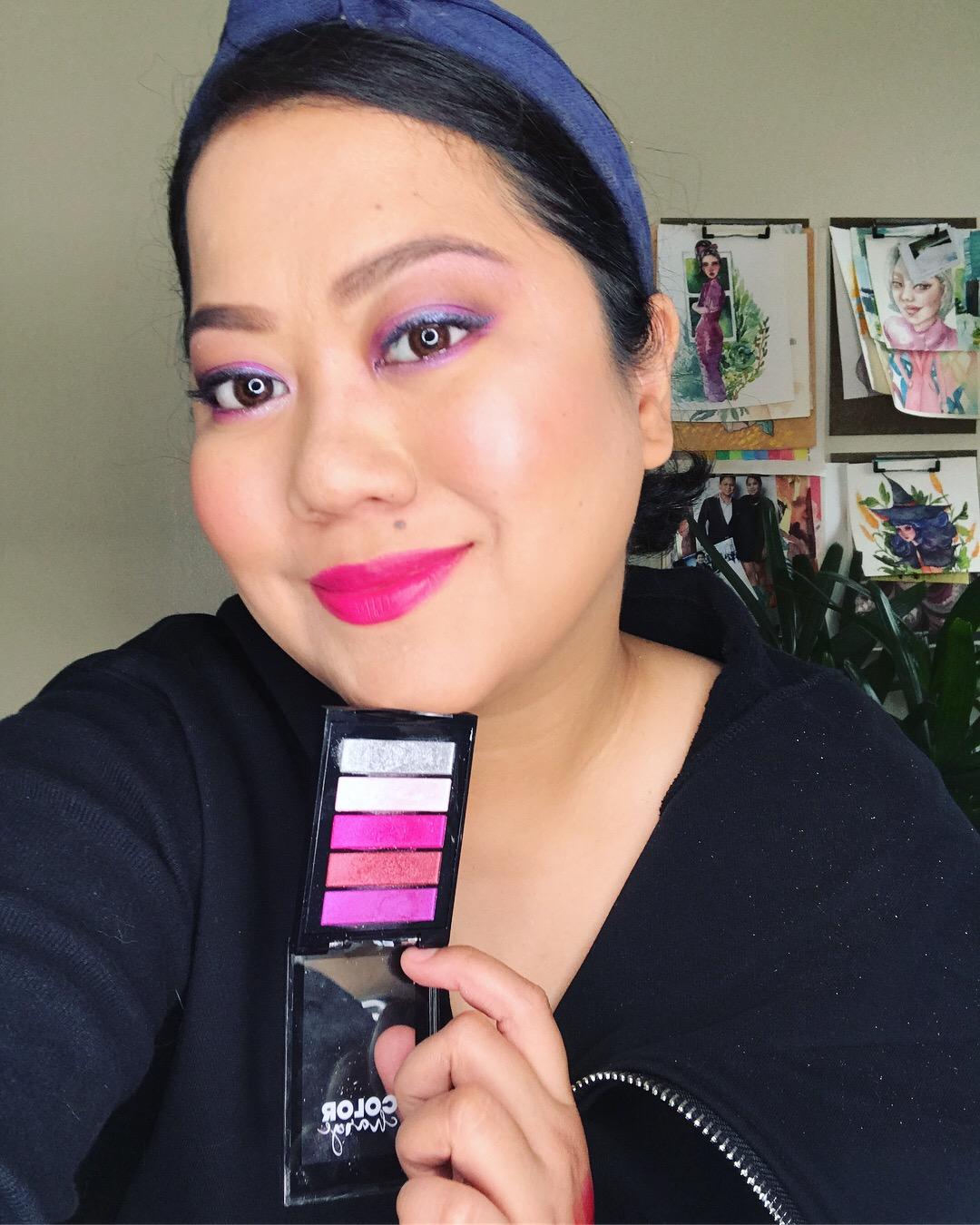 High Fever palette used as eyeshadow, Peach Pucker as blush