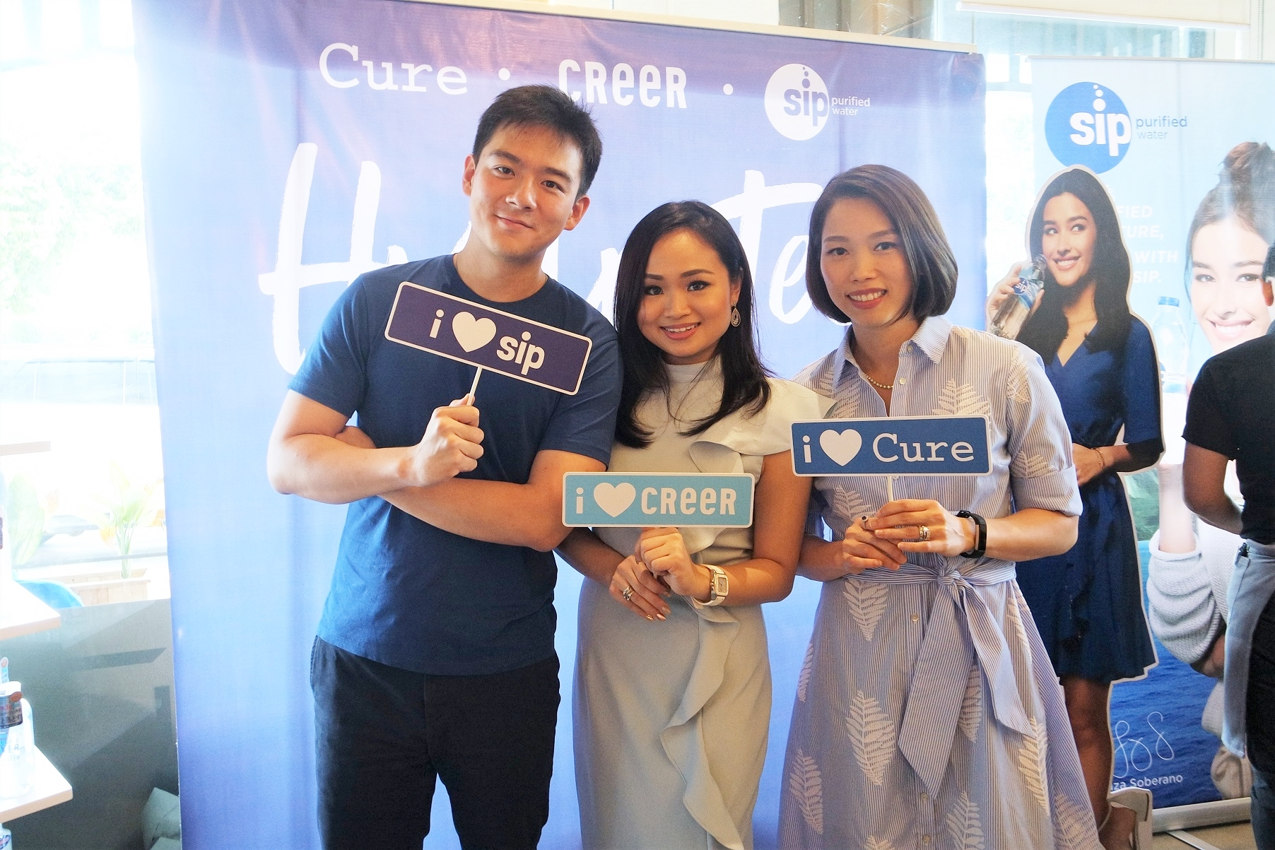 Charles Stewart Lee, Marj Sia, and Cheryl Tan Chua at the Cure, Creer, and Sip event.
