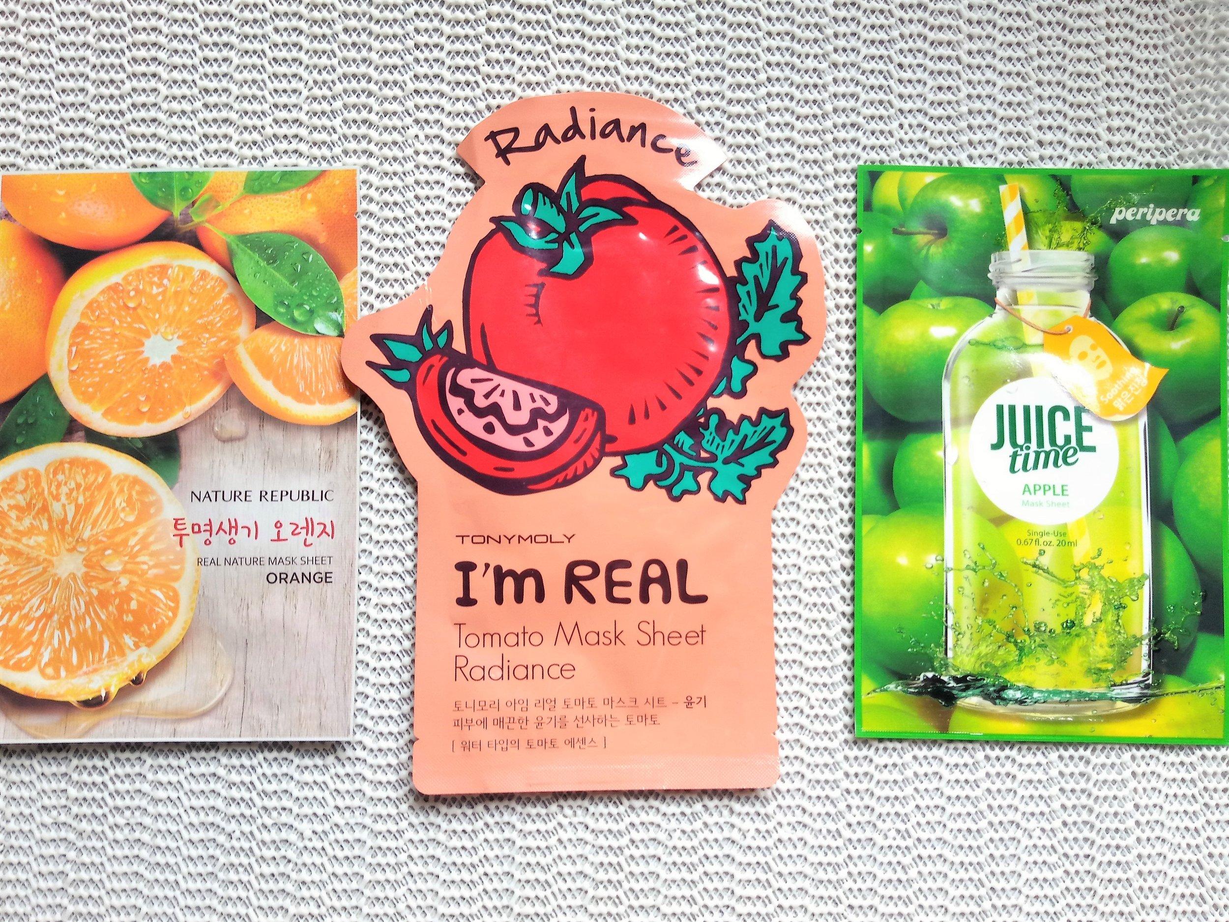 Nature Republic, TonyMoly, and PeriPera fruit sheet masks