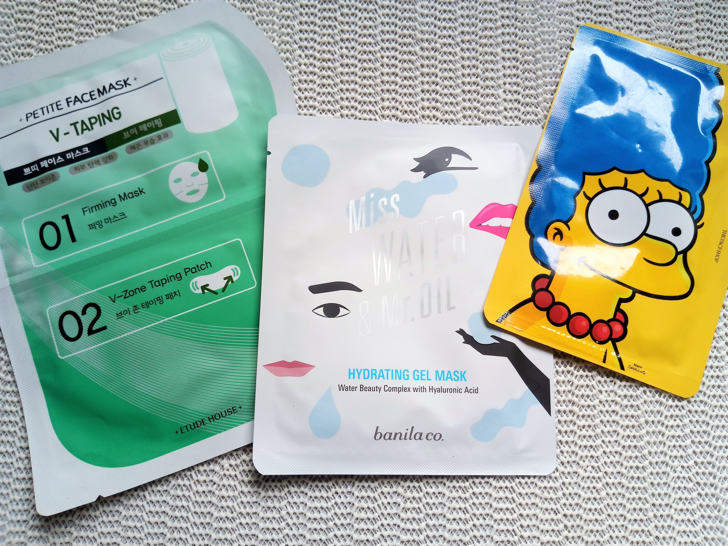 Etude House V-Taping, Banila Co. Miss Water & Mr. Oil, The Face Shop Marge character masks