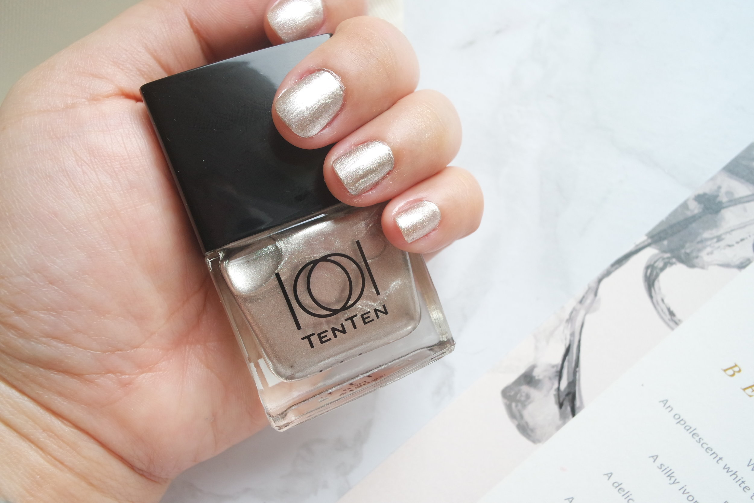 Platinum in (from top): three coats, two coats, one coat
