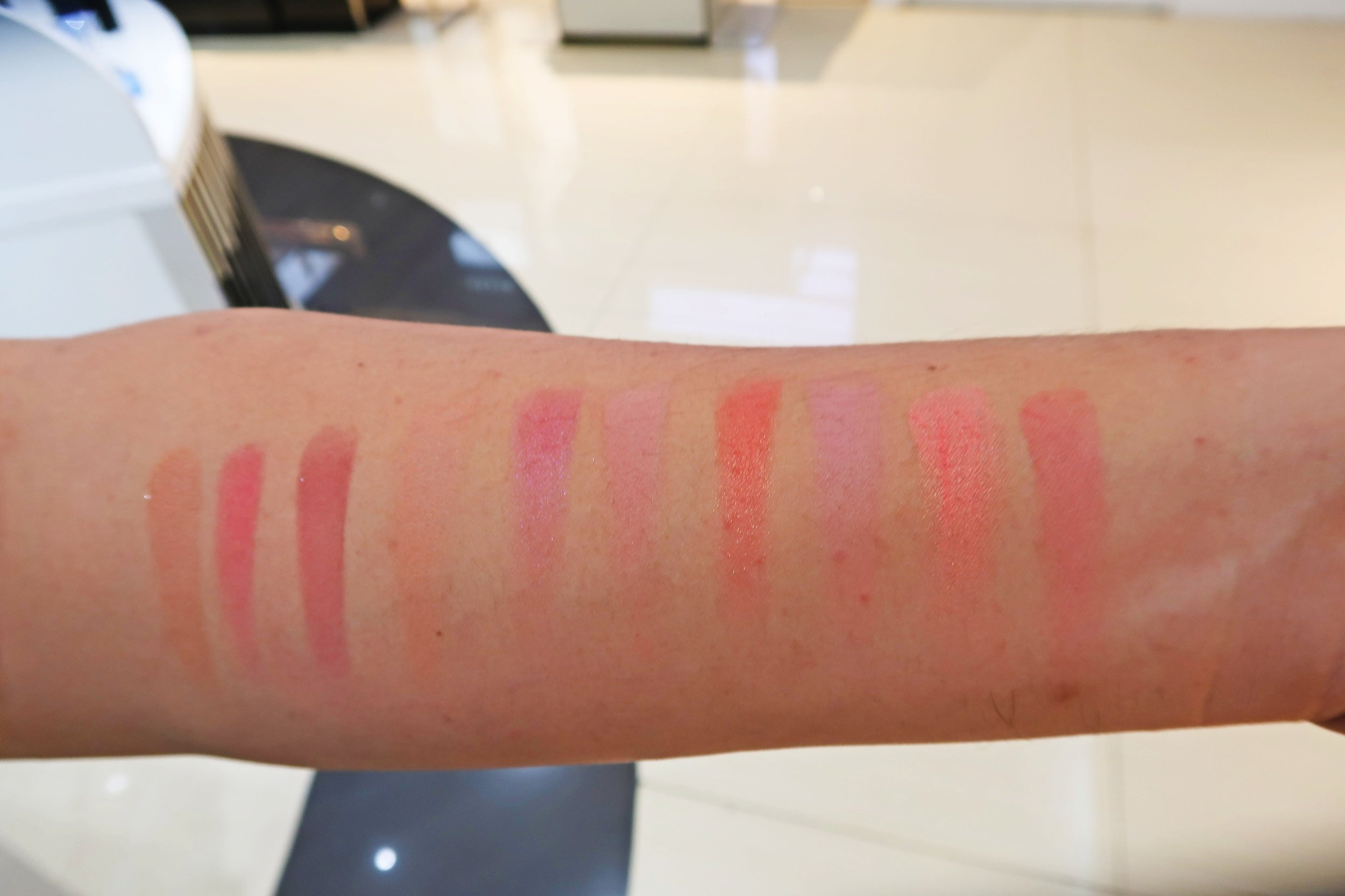 Swatches, from left: Fresco, Pomegranate, Kir Royale, Ginger, Sangria, Chai, Grapefruit, Strawberry, Peach, Rose