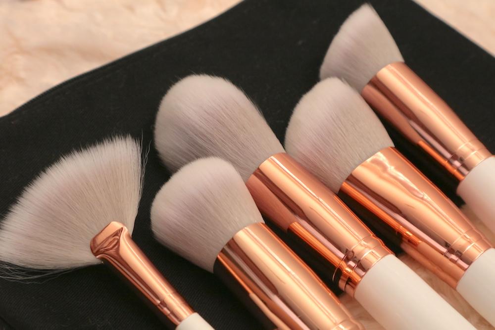 From left: Fan Brush, Blush Brush, Powder Brush, Contour Brush, Flat Angled Kabuki