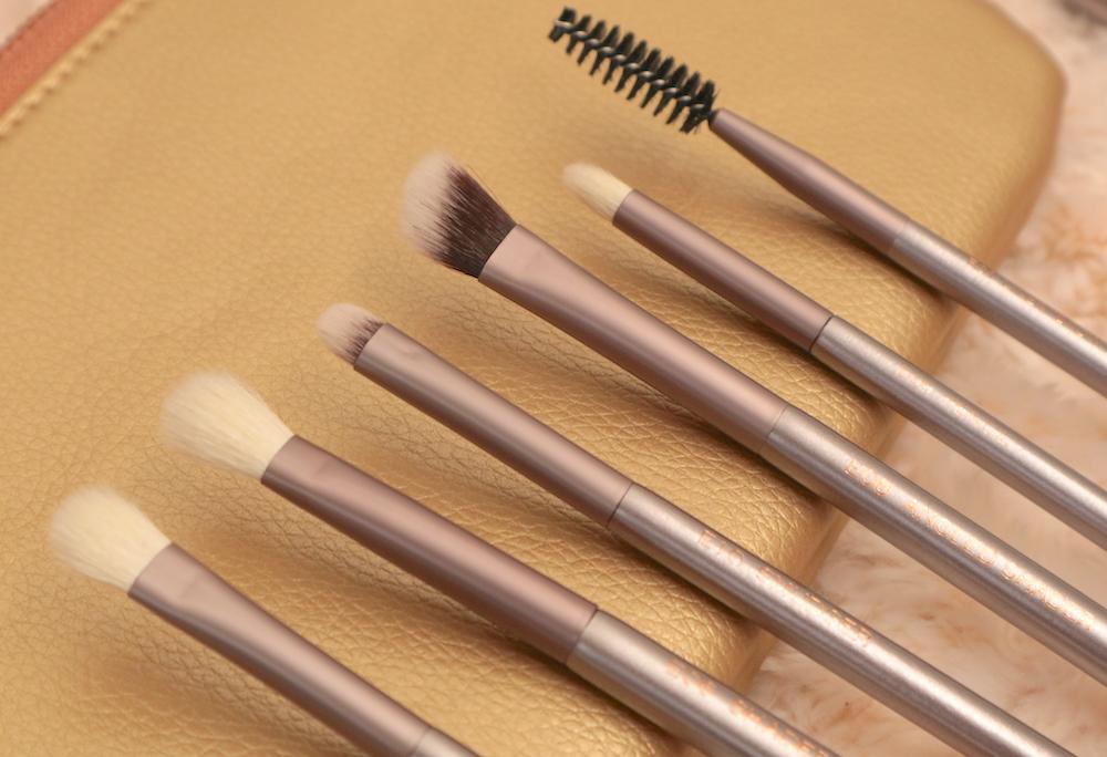 From left: E07 Flat Shader, E06 Shader, E10 Smudger, E08 Angled Shader, E09 Pencil, E01 Liner/Brow Duo