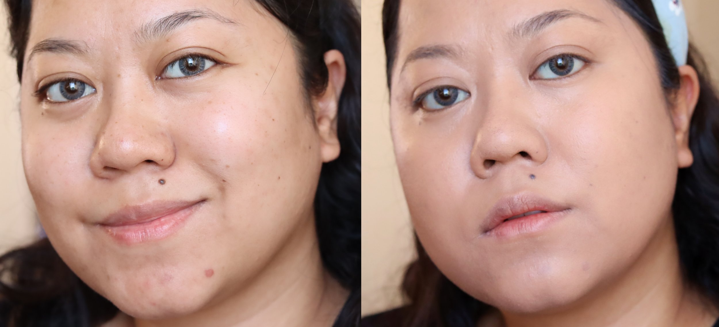 Left is my bare face, right is with one layer of the Revlon Full Cover. Look at how nice the finish and coverage is! I didn't use a concealer here.