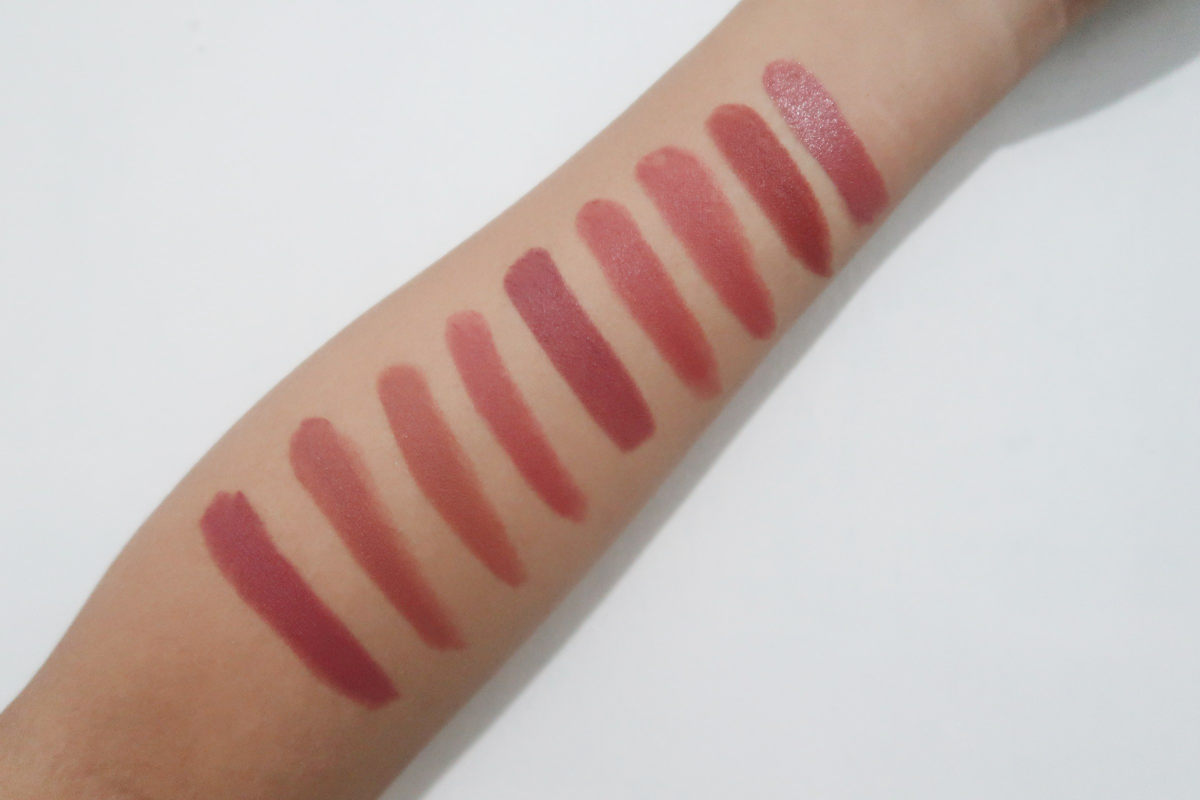 Swatches, from left: Honeymoon Glow, Breakfast in Bed, Clay Crush, Touch of Nude, Touch of Spice, Rose Nuance, Itetch, Elegant, and Cosmo