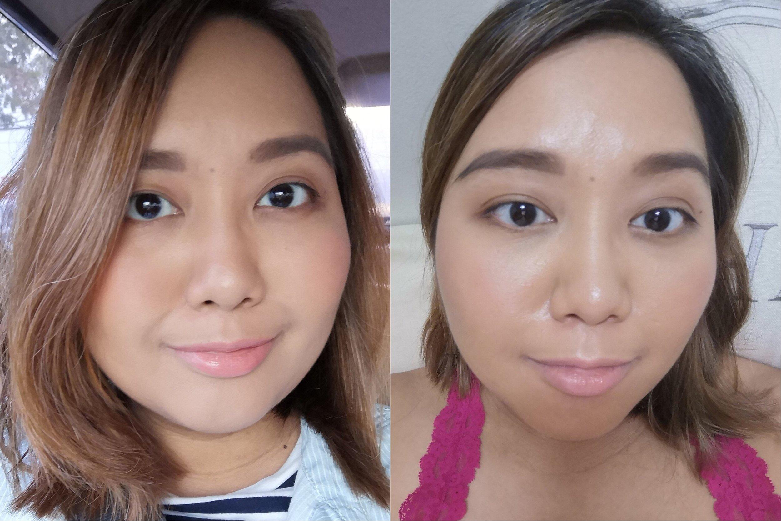 Left: Wearing makeup in natural lighting; Right: After 7 hours of wear in indoor lighting