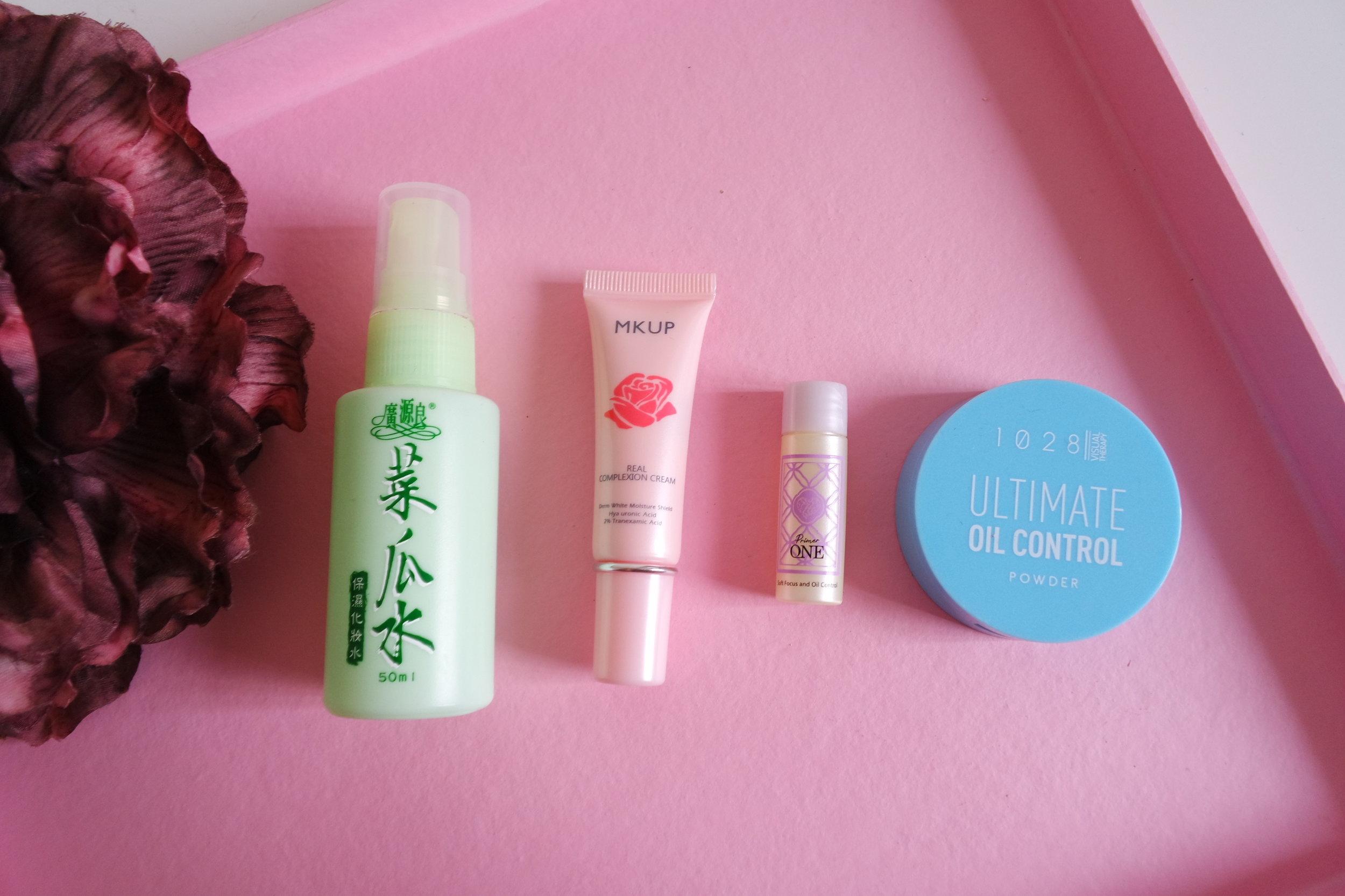 Luffa Toner, Real Complexion Cream, Primer-One Face Primer, Ultimate Oil Control Powder