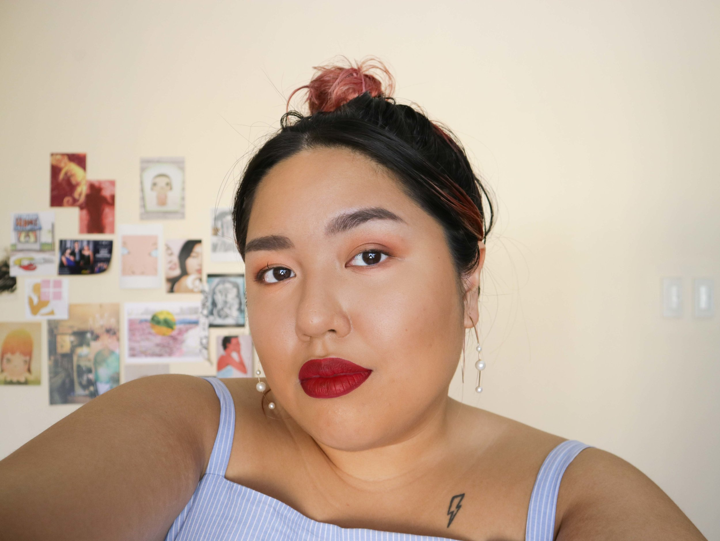 Beau  is your classic vamp, a maroon reminiscent of MAC  Diva . It makes a great impact, so I decided to up the ante by really contouring the cheeks and eyes and paired with a topknot for more Intsagrammy goodness.