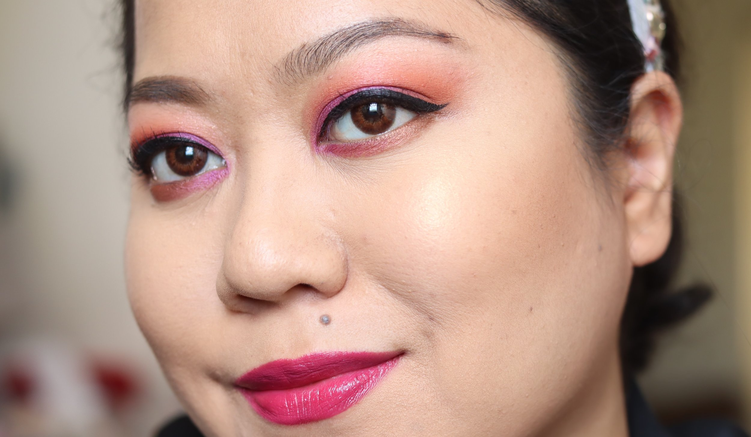 The K-Palette Lasting Eyebrow Tint Pen, freshly applied on top of skincare and foundation
