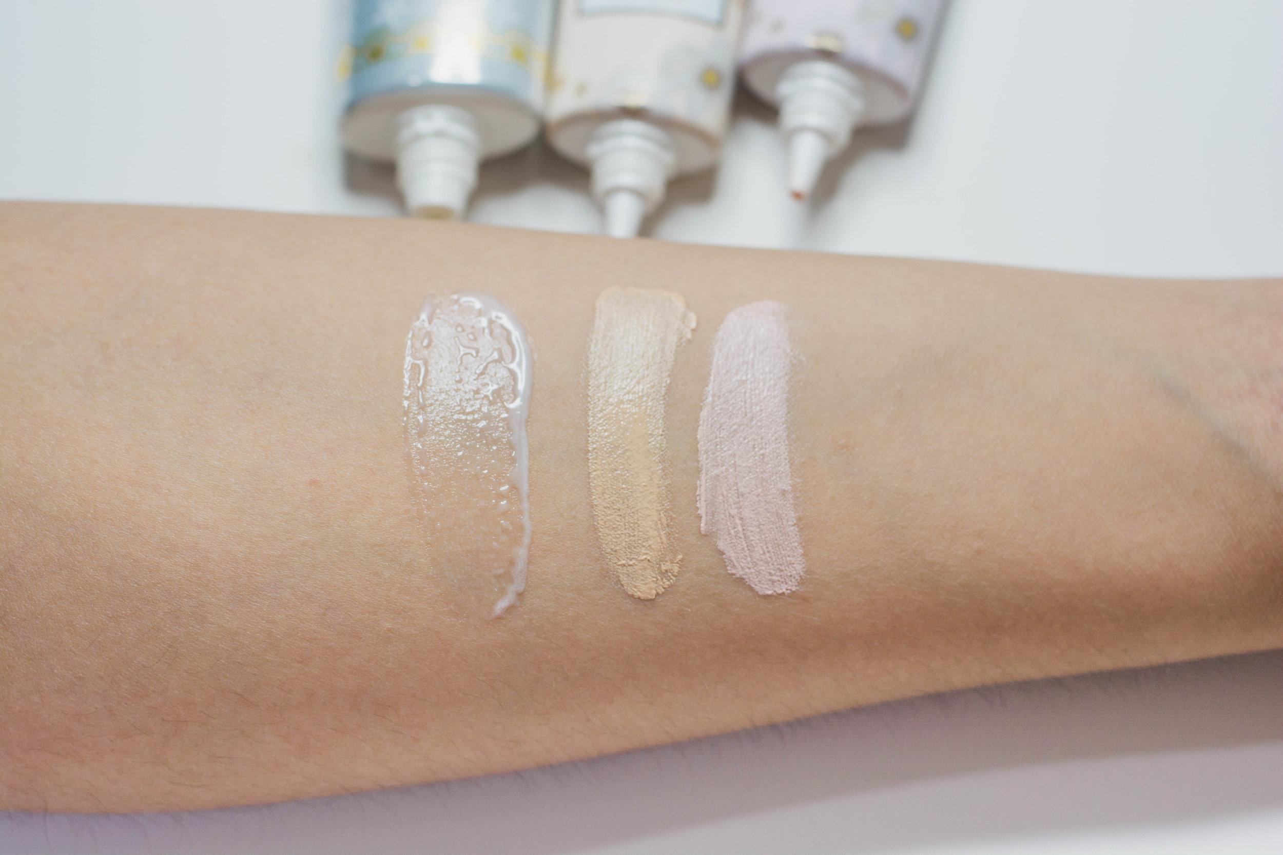 Swatches, from left: Mermaid Skin Gel UV, Juicy Glow Skin Base in  Beige  and  Pink