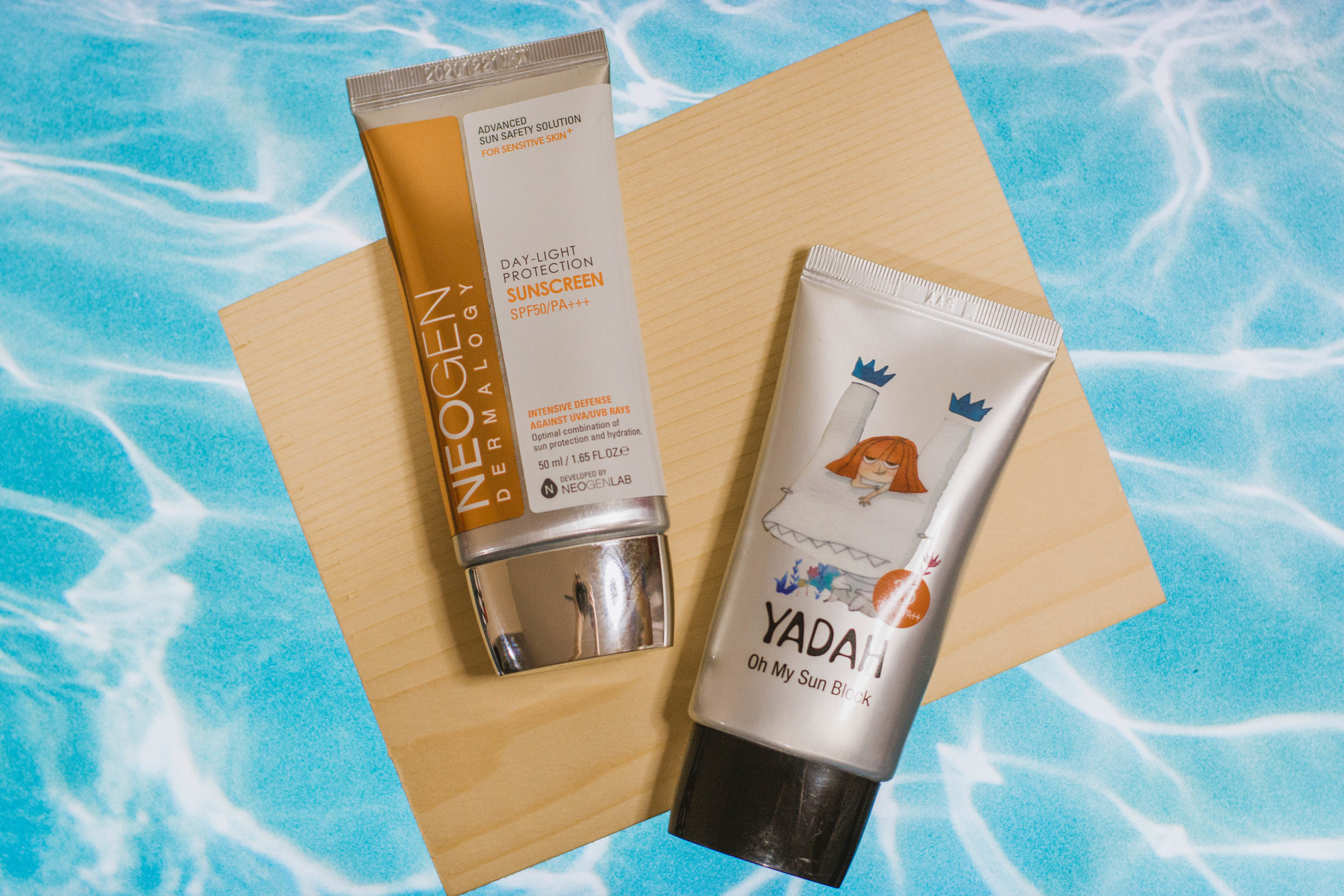 Korean sunscreens: Neogen Day Light Protection Sun Screen SPF50 PA+++ and Yadah Oh My Sun Block SPF35 PA++