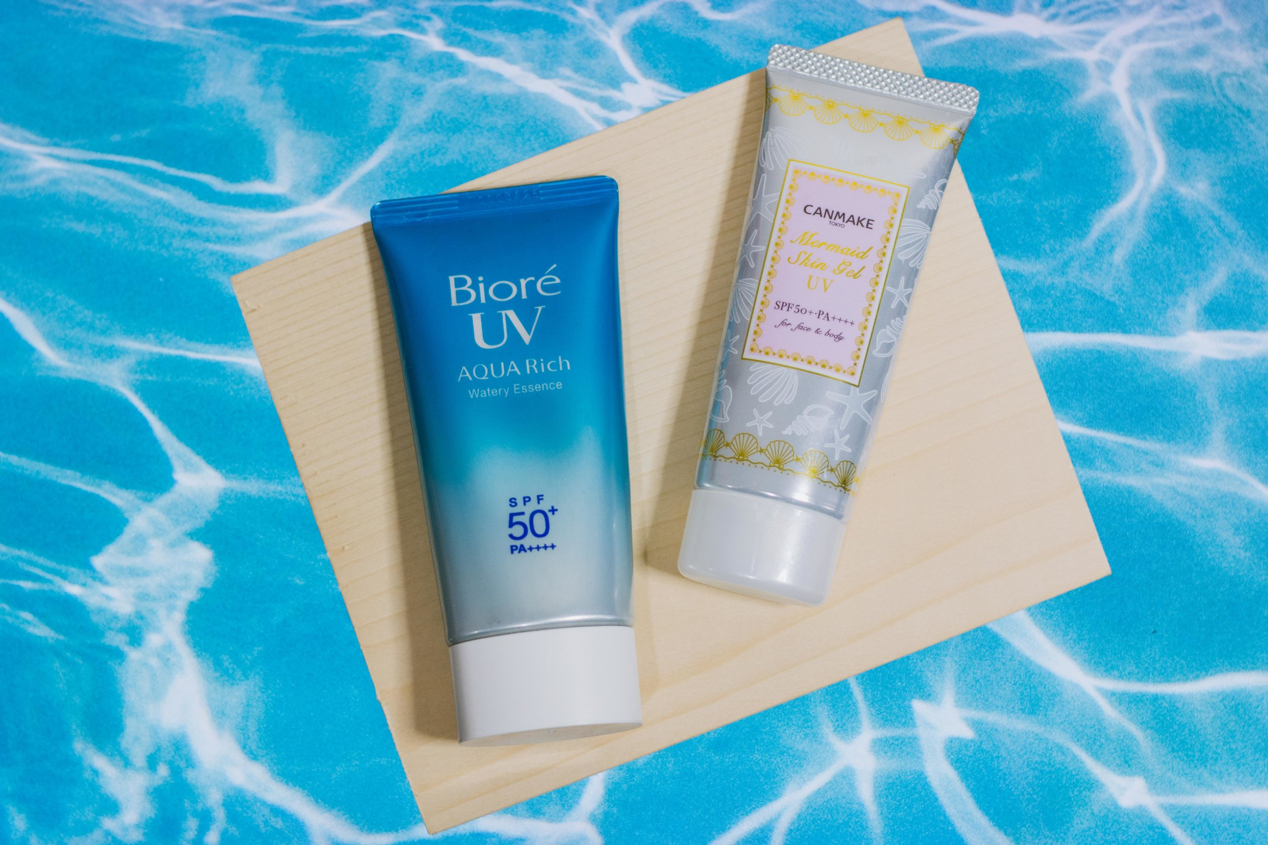 Japanese sunscreens: Biore UV Aqua Rich Watery Essence SPF50+ PA++++ and Canmake Mermaid Skin Gel UV SPF50+ PA++++