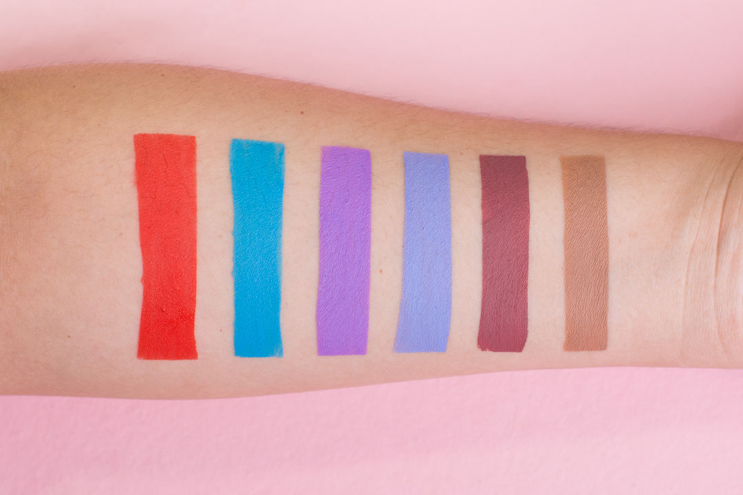 Swatches, from left: Anna Nicole (orangey red), Jawbreaker (neon pastel blue), Blow Pony (neon pastel lavender), Diamond (periwinkle), Androgyny (plum mauve), Baby Daddy (warm, soft taupey nude)