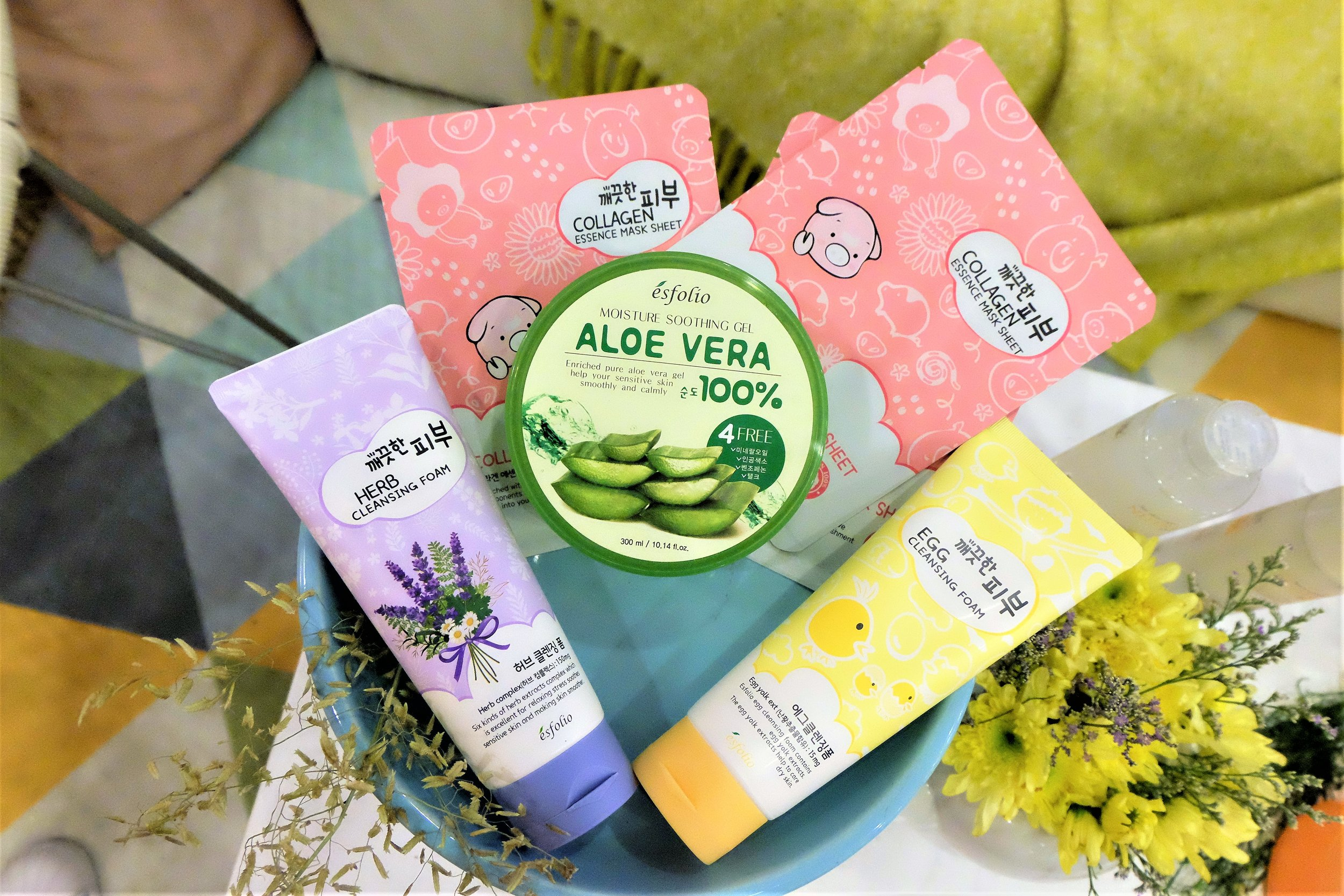 Collagen Essence Mask, Aloe Vera Soothing Gel, Herb Cleansing Foam, and Egg Cleansing Foam