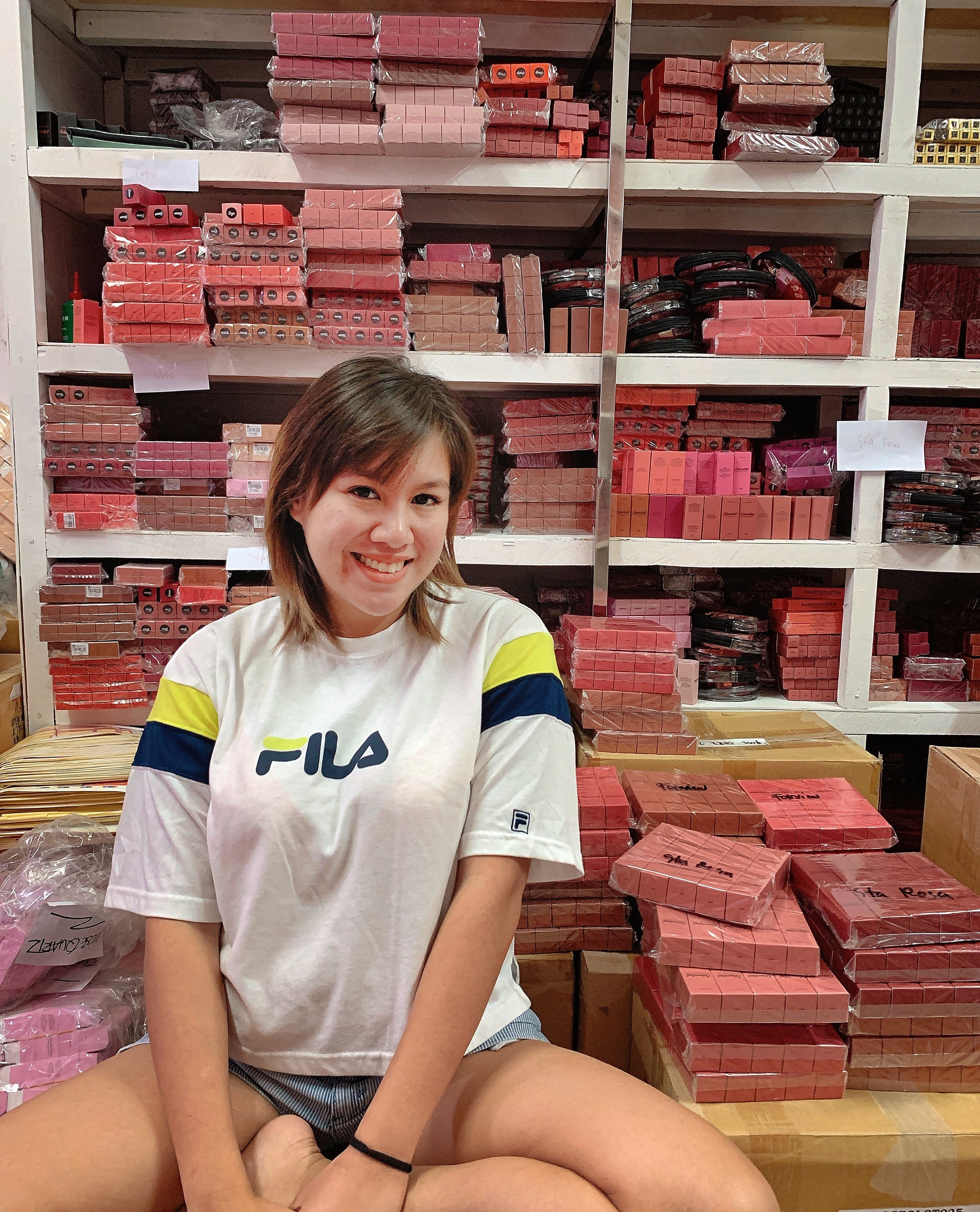 Nina surrounded by stocks of her best-selling Colourette Colourtints