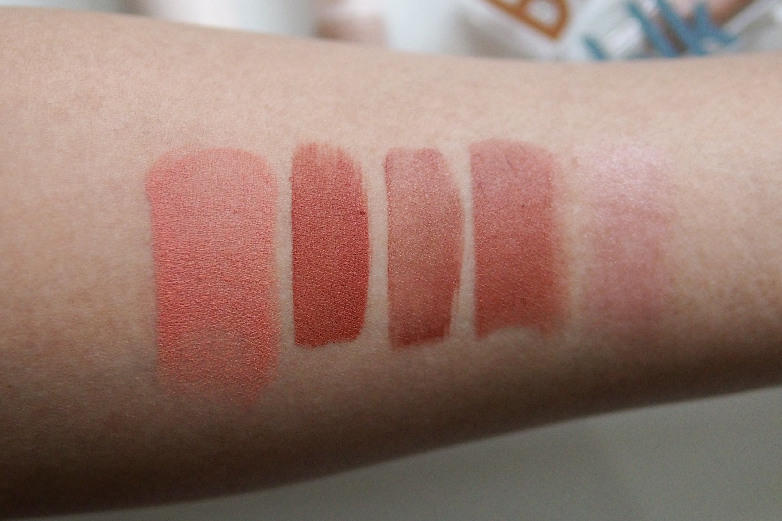 Swatches, from left: Multitasking Color Stick in Rosé, Universal Tint Duo Matte in Nutmeg, Universal Tint Duo Water in Nutmeg, All Day Lip in Latte, Color Adapting Moisture Balm