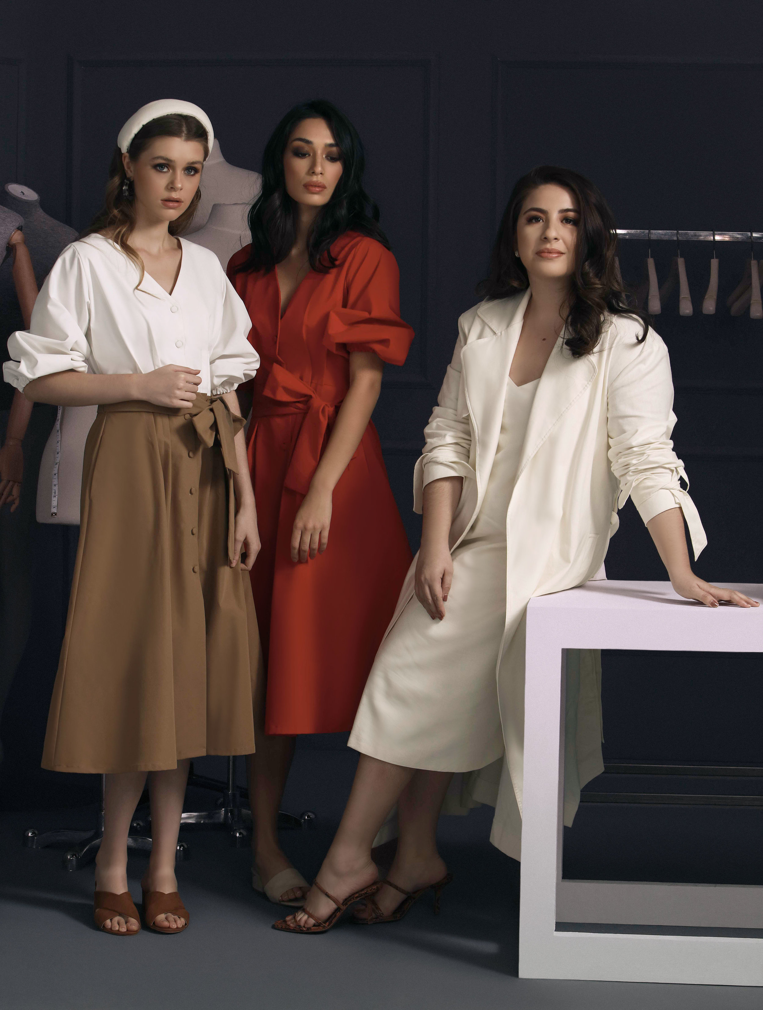 Vania Romoff's third collab with Plains & Prints gives us the white and khaki Carlotta dress (P2998) and the red Marcella (P2998).