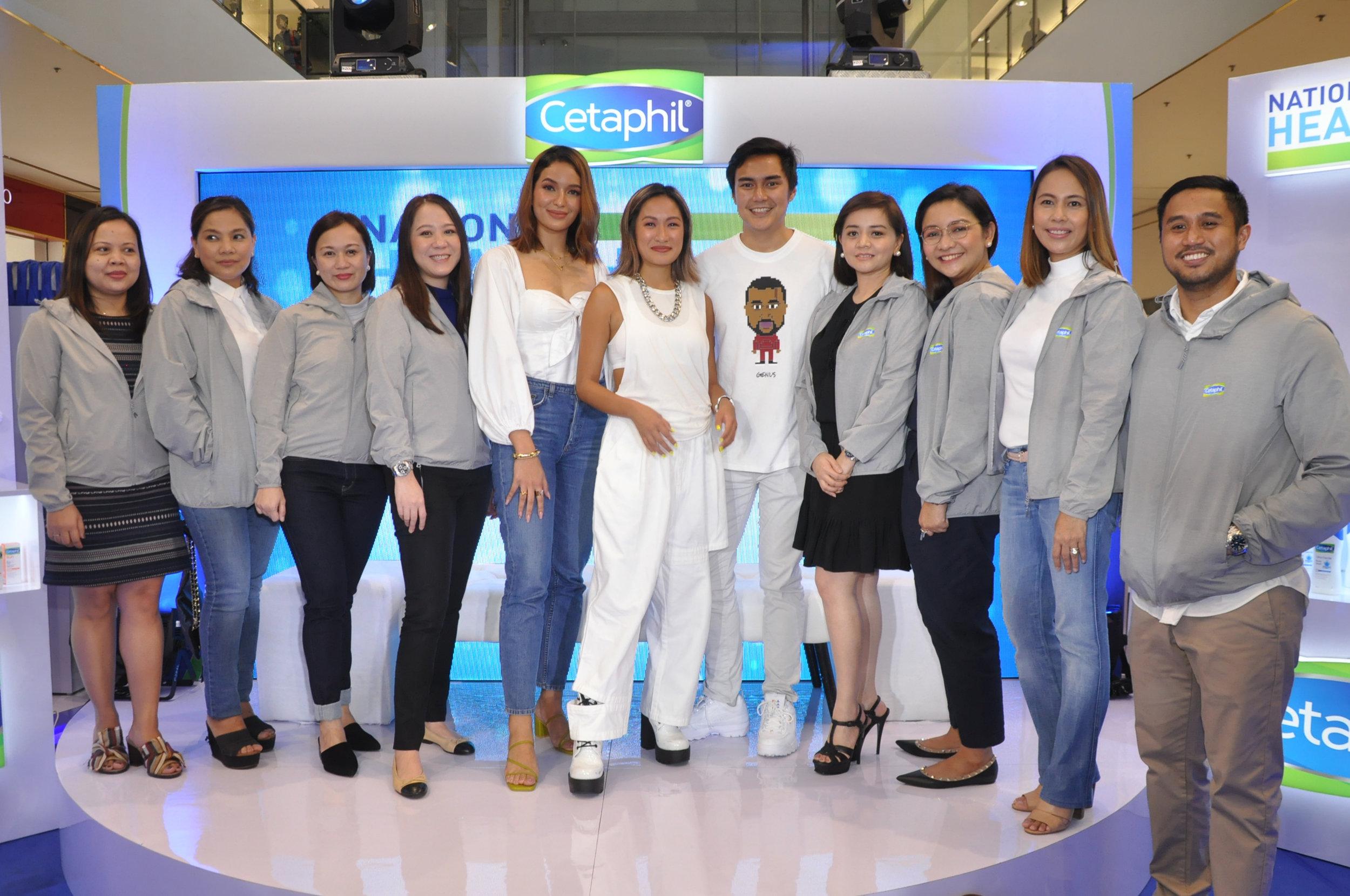 The Cetaphil team with Sarah Lahbati, Laureen Uy, and Miggy Cruz
