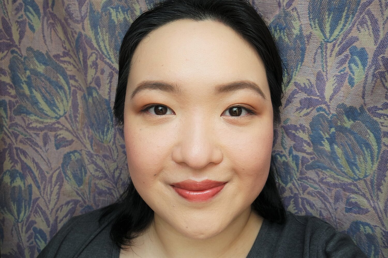 Left: Tone-Up Cream underneath makeup; right: bare skin underneath makeup