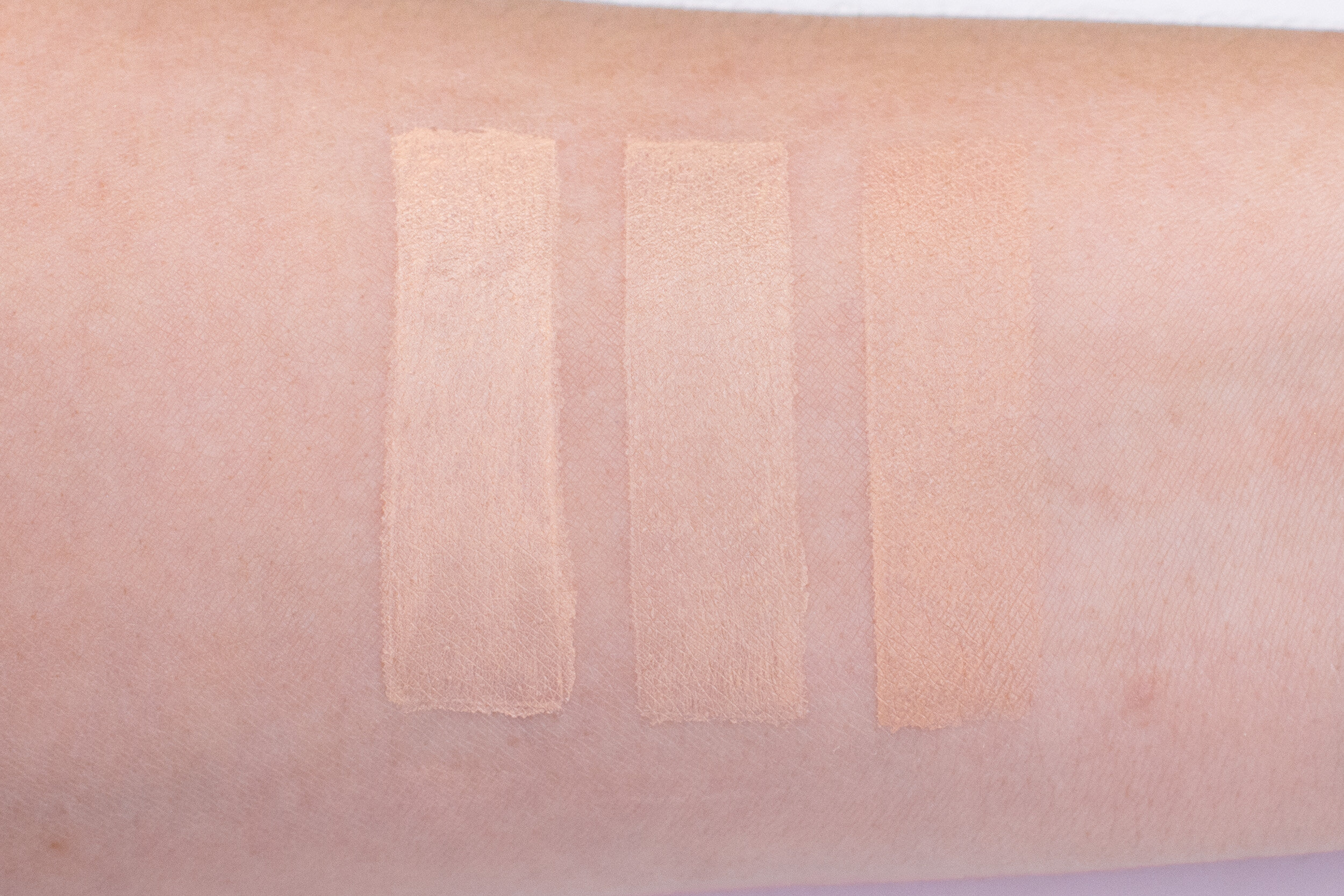 Swatches, from left: 01 Light, 02 Nude, and 03 Shell