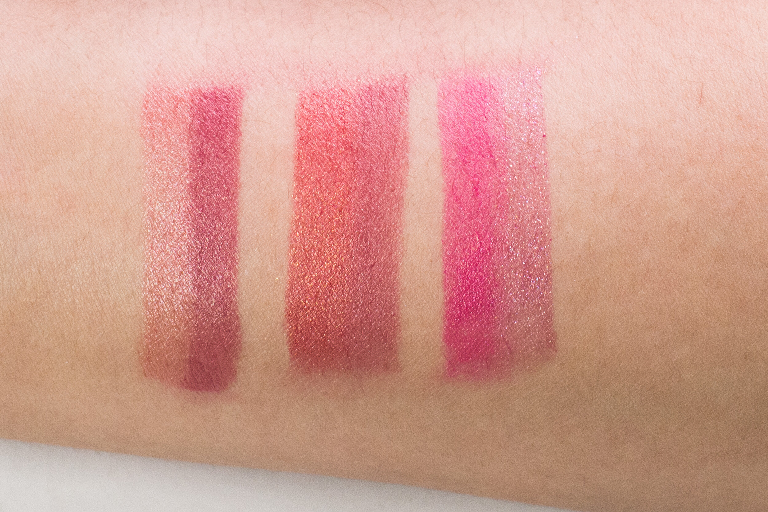 Swatches, from left: Romantic Rose, Mauve Maven, Fuschia Pop