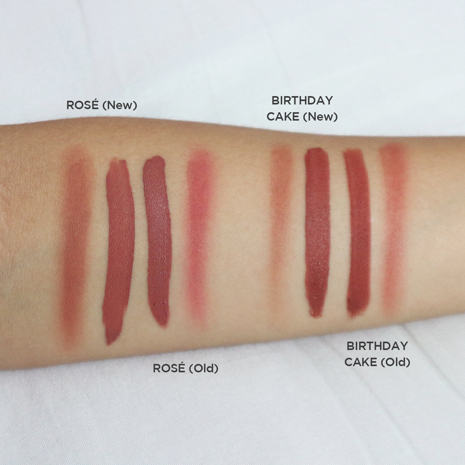 This diffused Rosé took two layers. For the same amount of product, see how more pigmented the old and diffused Birthday Cake is.
