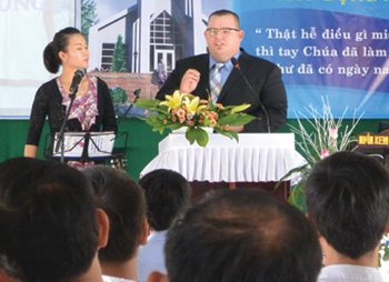 Preaching our first Sunday back in Vietnam