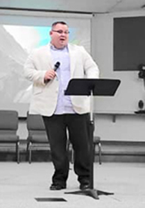Dr. Shaun Miles preaching at First Baptist Church of Deleon Springs in 2019.