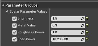 The materiel instance parameters