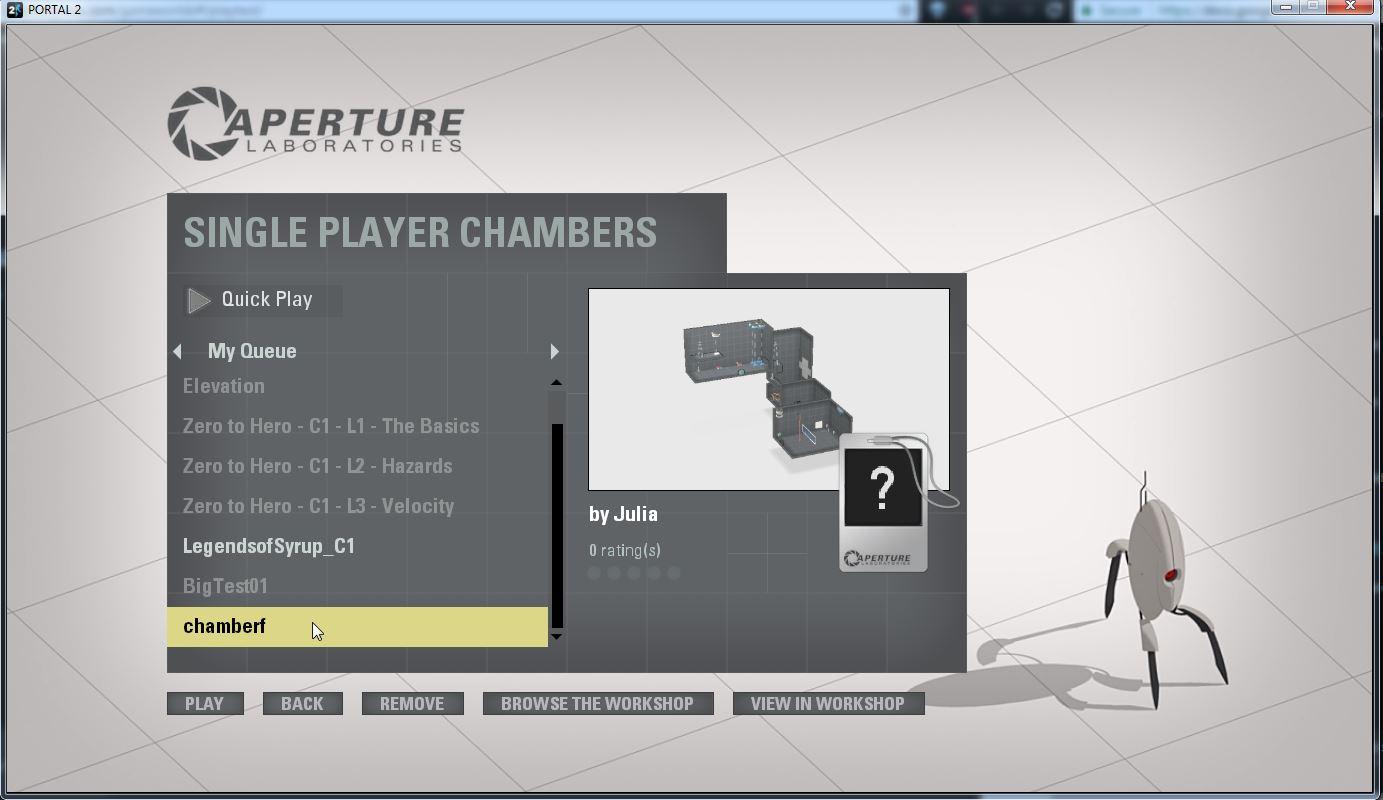Step 6: Press 'Shift' + 'Tab' to go back to 'Single Player Chambers' menu