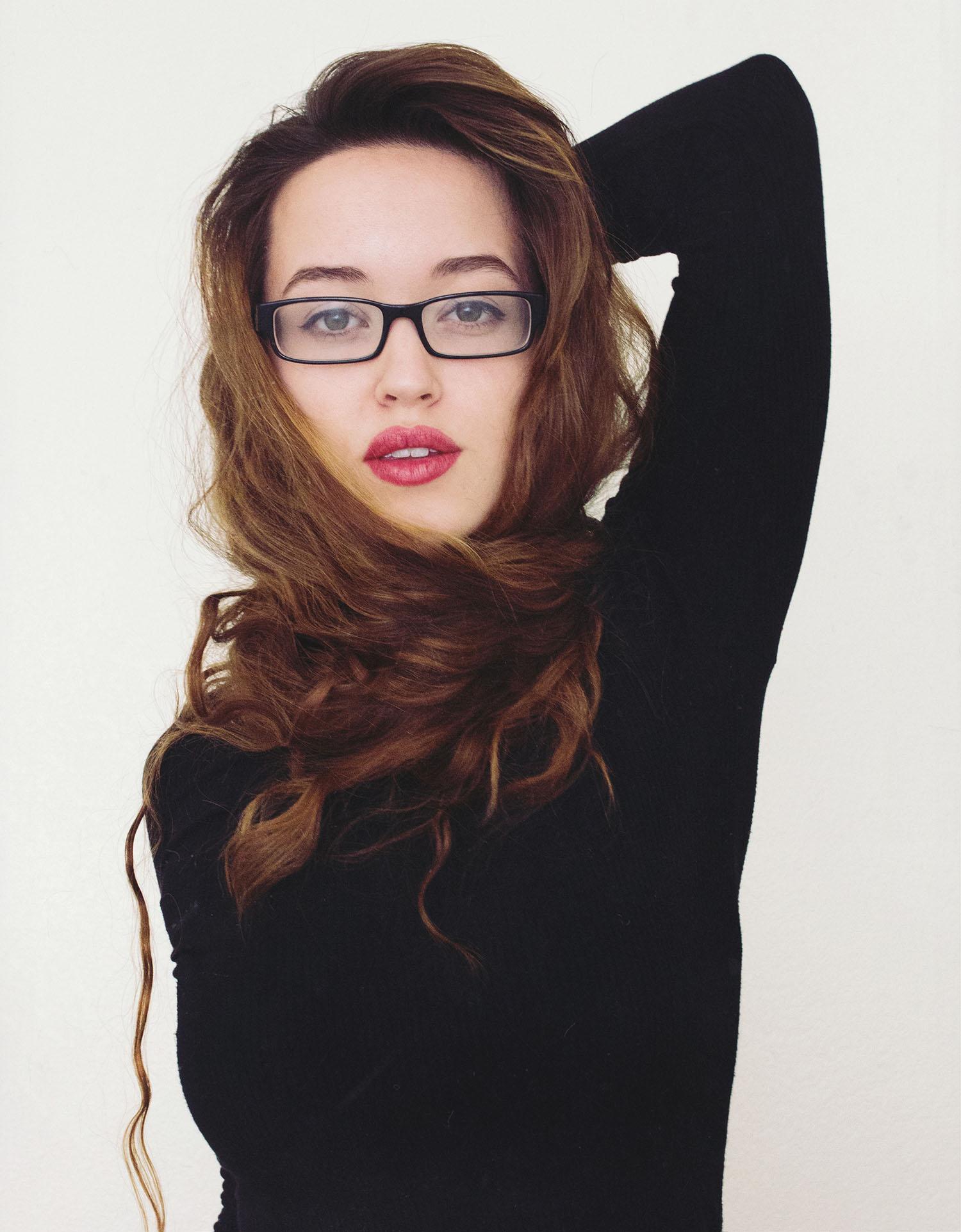 self portrait, emily joy wilson, glasses, hair, style, fashion, red lipstick