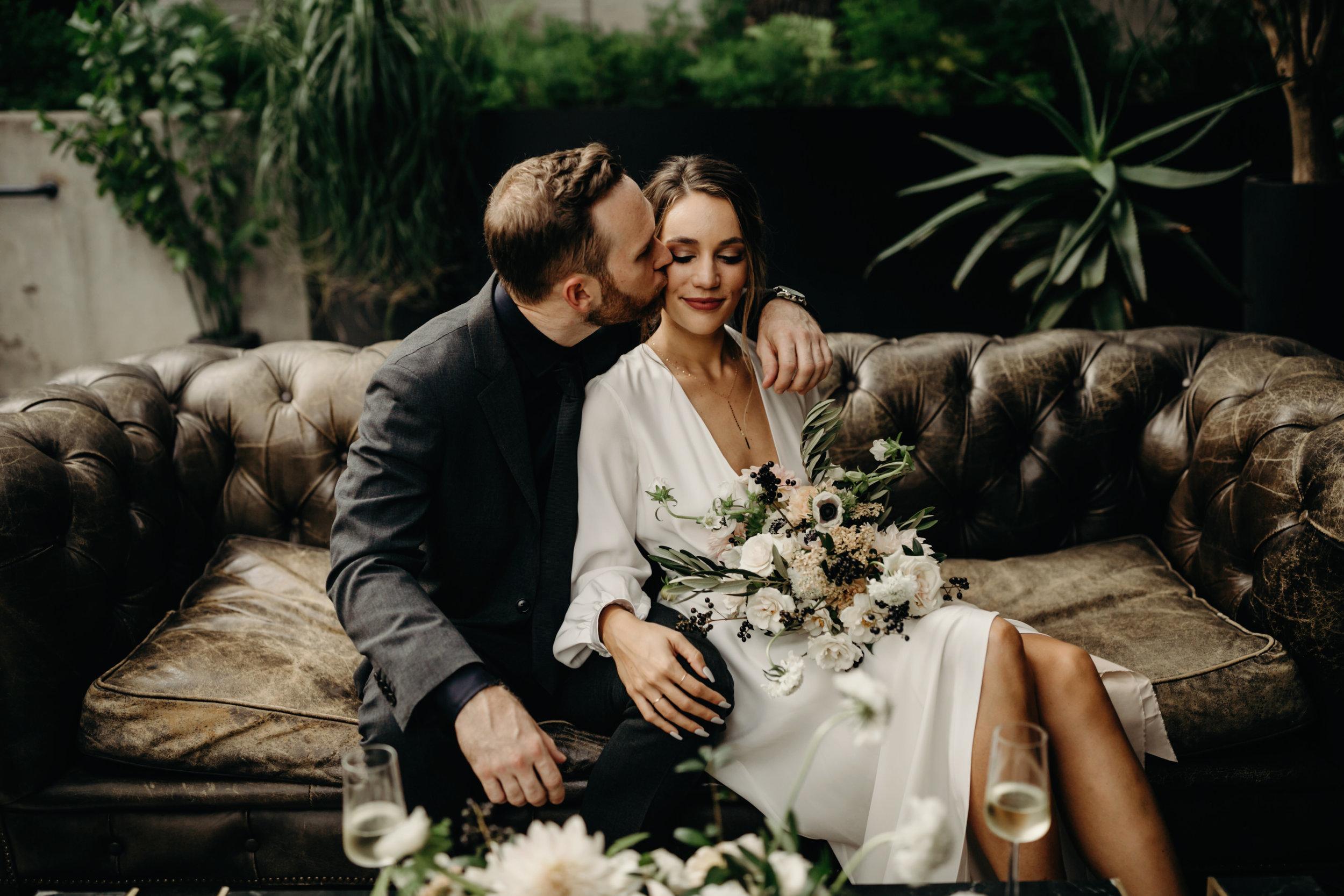 bride and groom wedding day portraits   Intimate Wedding at Hotel Saint Cecilla   Gloria Goode photography
