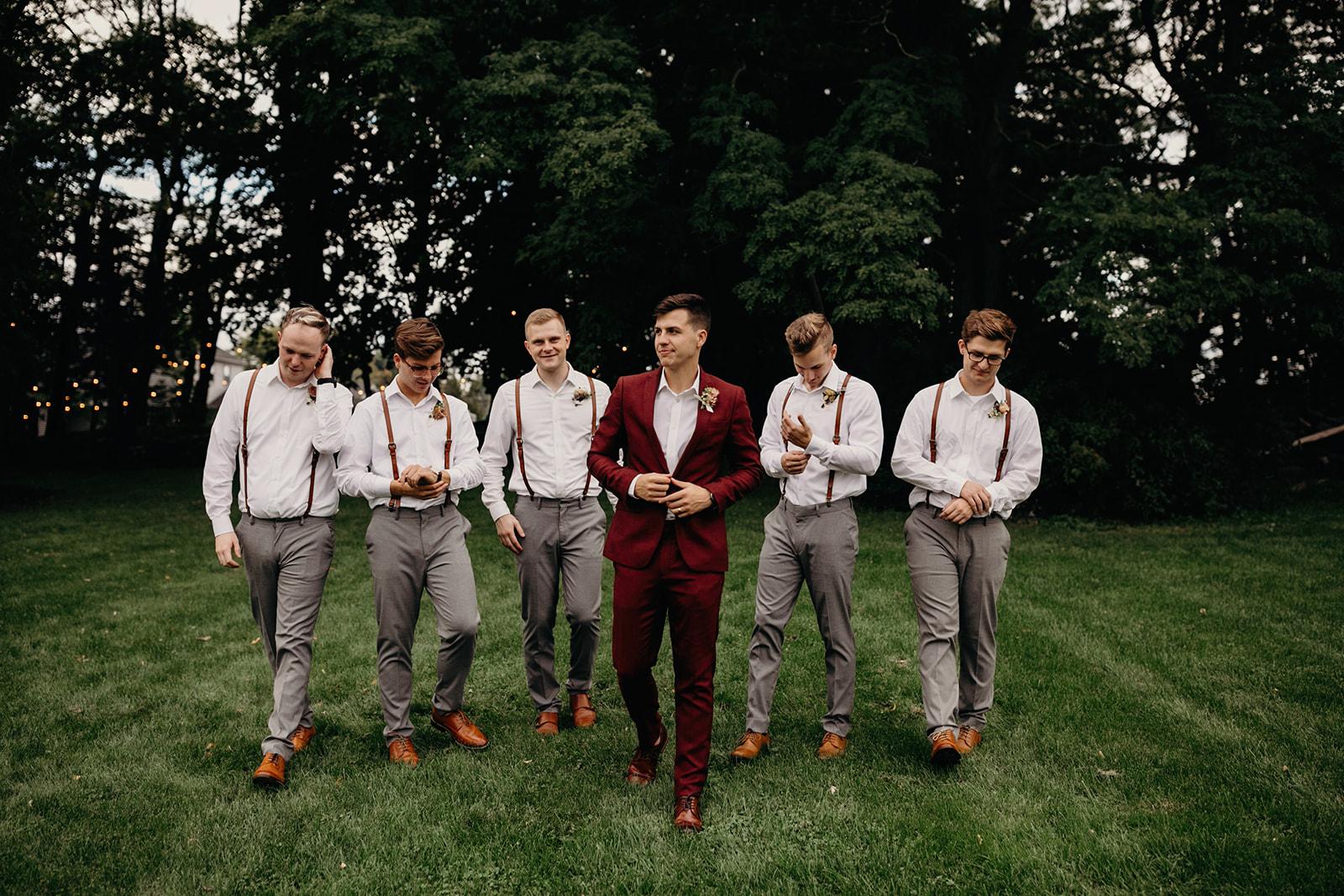 groom and bridal party, NY backyard wedding