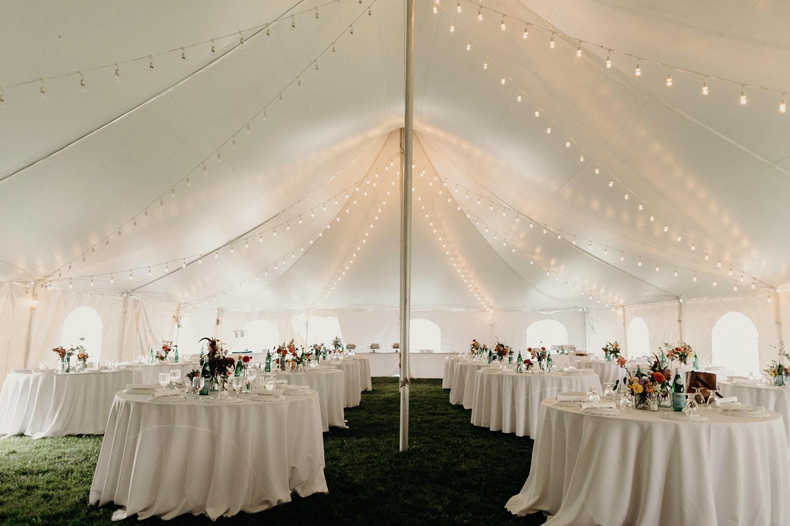 wedding table set up at reception