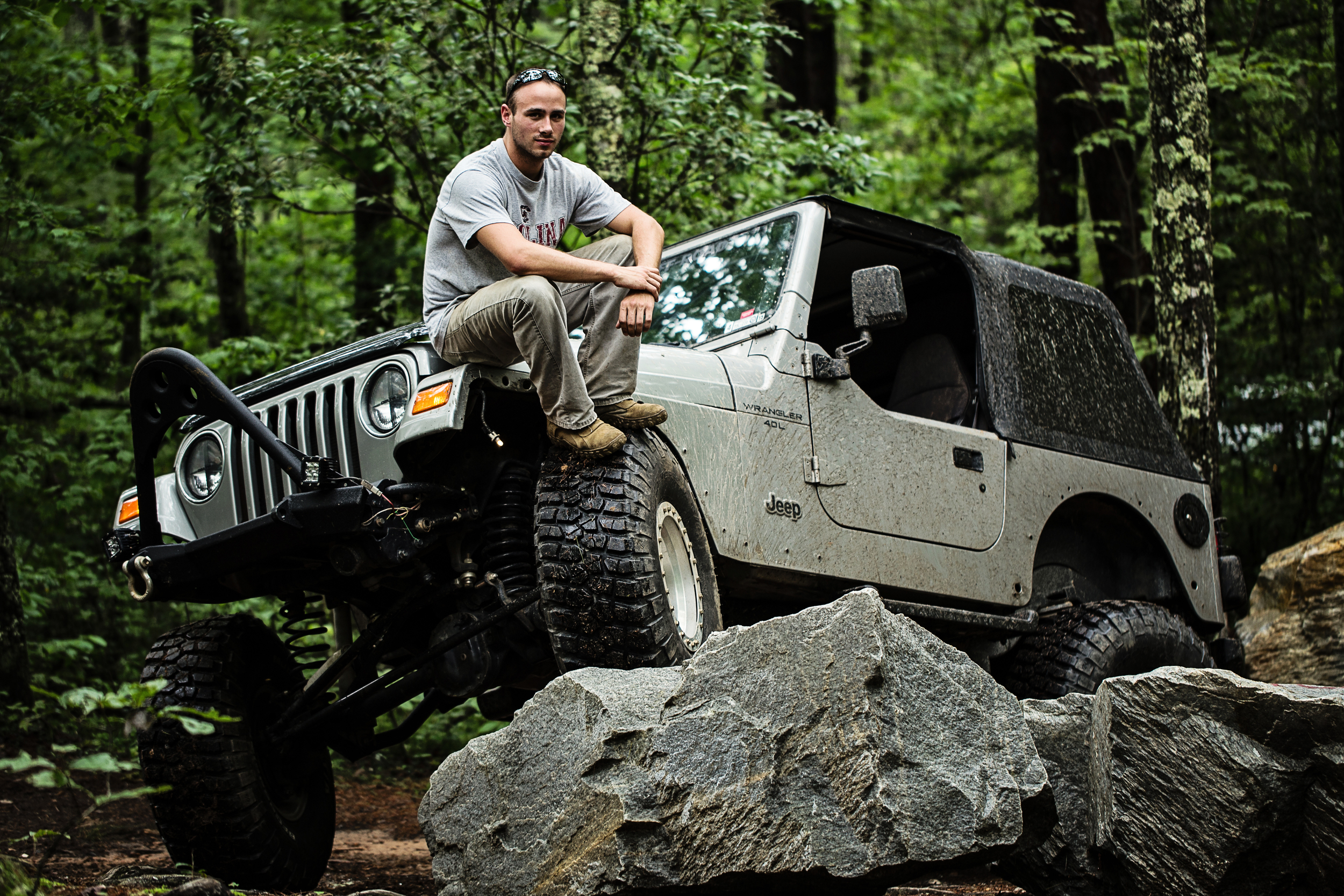 Tyler flexin' his Jeep at Warwoman in Rabun County GA